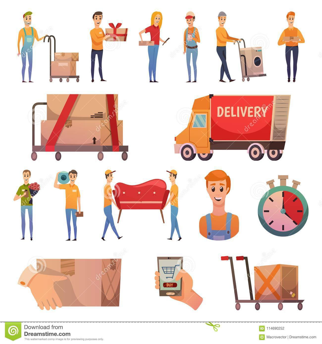 Courier Delivery Orthogonal Icons Set Stock Vector - Illustration of