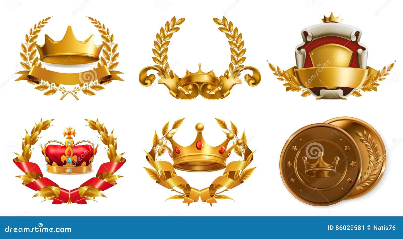 Couronne d or et guirlande de laurier Pays de rappe de couleur de busines d Internet de Web de course de planète de la terre de c
