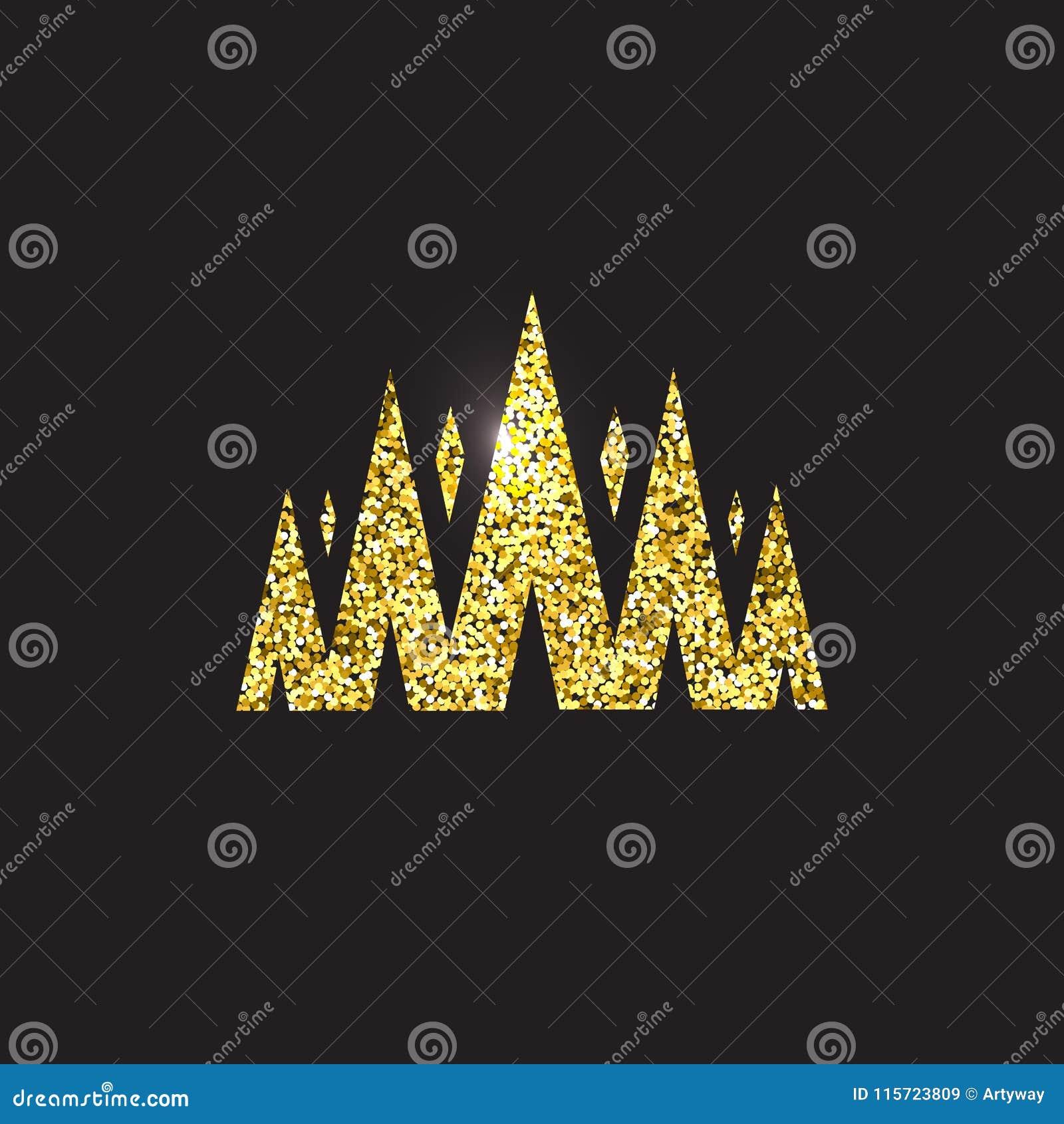Couronne de reine, coiffe royale d or Accessoire d or de roi Illustrations d isolement de vecteur Symbole de classe d élite sur l
