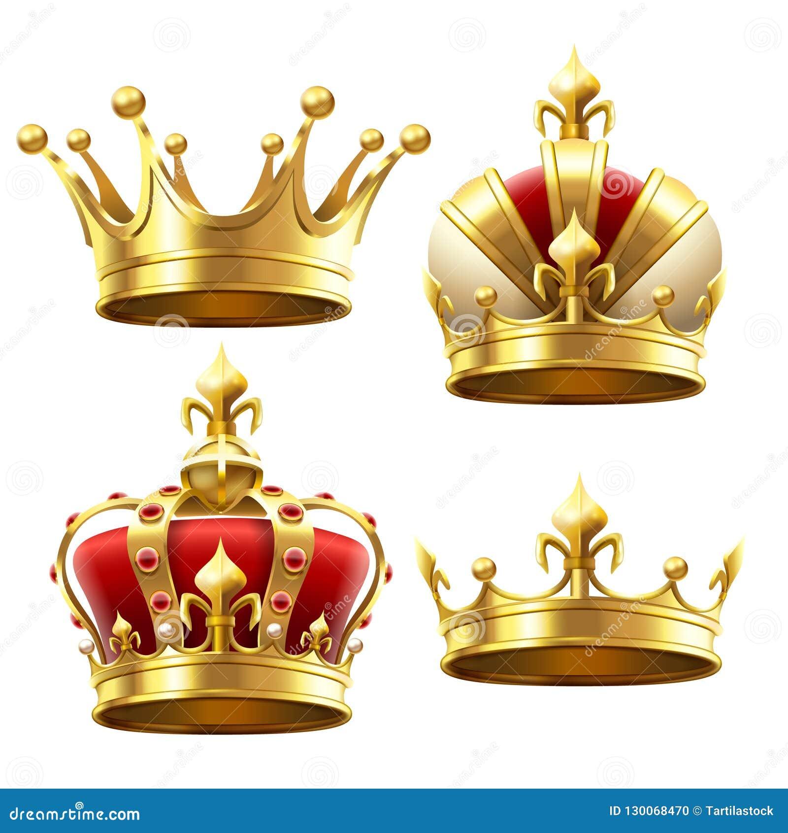 Couronne réaliste d or Coiffe de couronnement pour le roi et la reine Les couronnes royales dirigent l ensemble