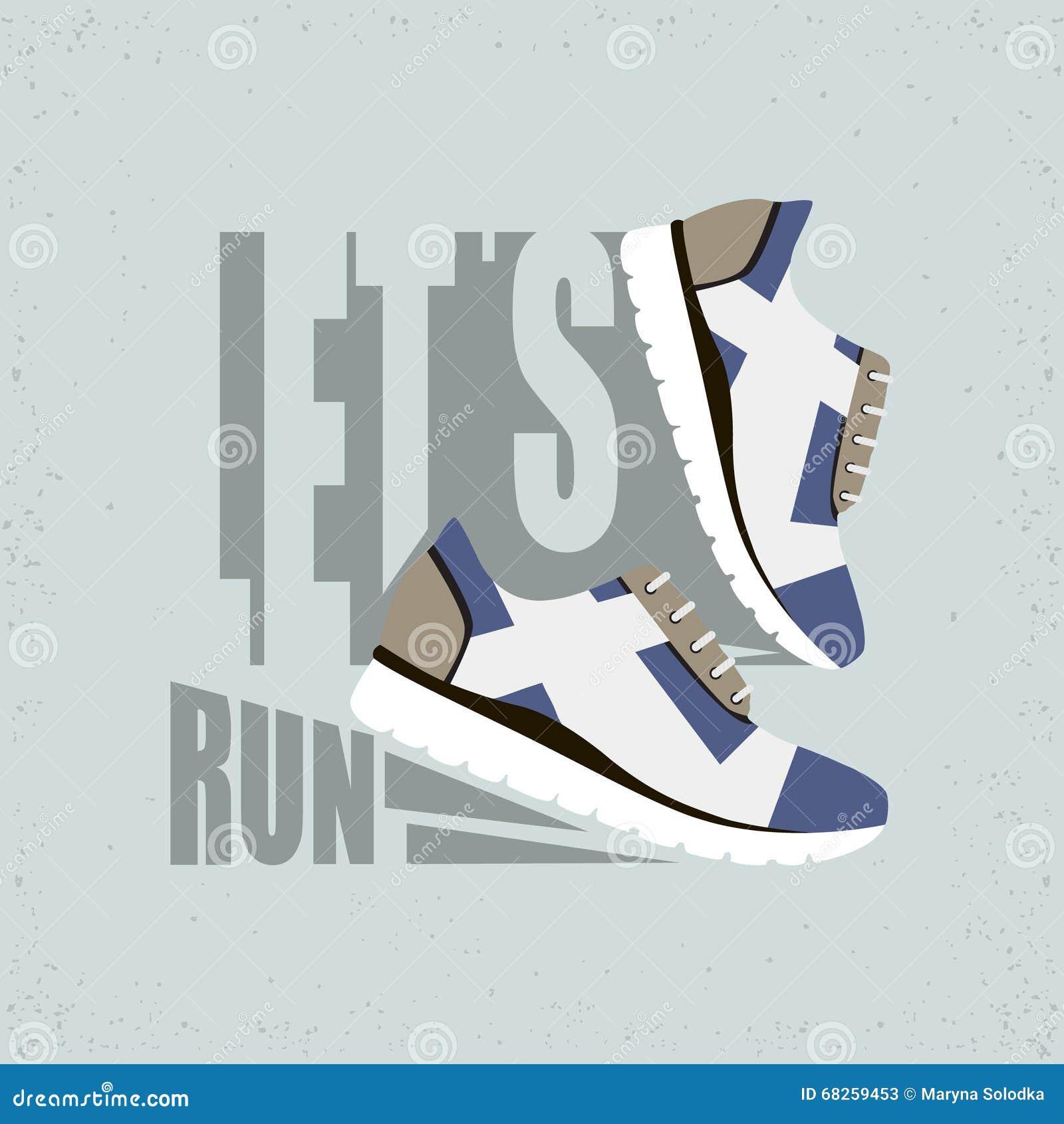 Courons l illustration plate Chaussures de course avec l ombre r
