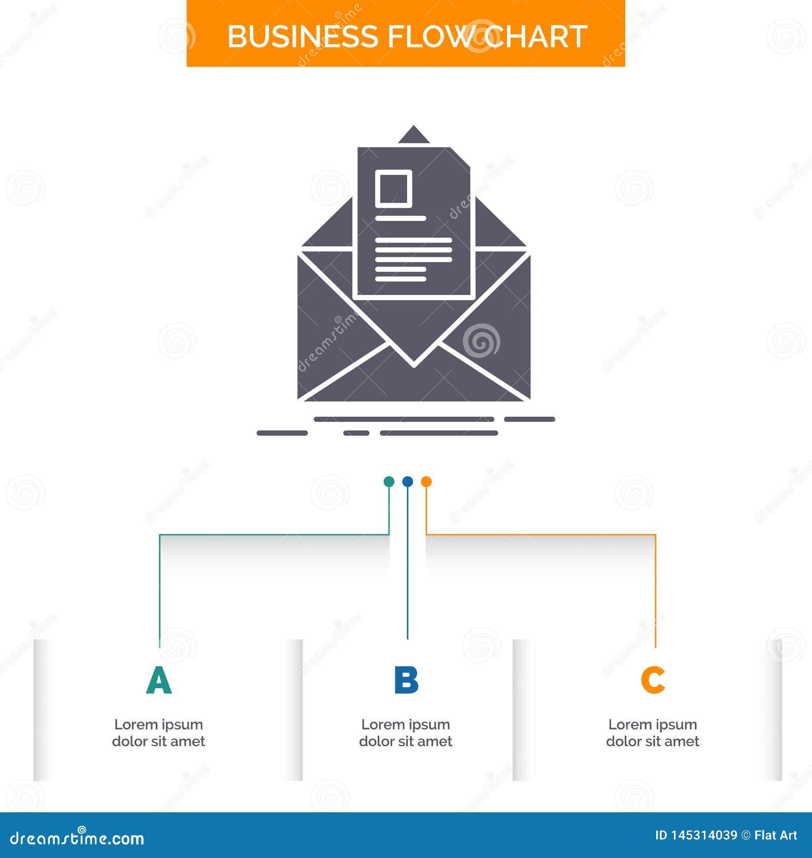 Courrier, contrat, lettre, email, donnant des instructions la conception d organigramme d affaires avec 3 ?tapes Ic?ne de Glyph p