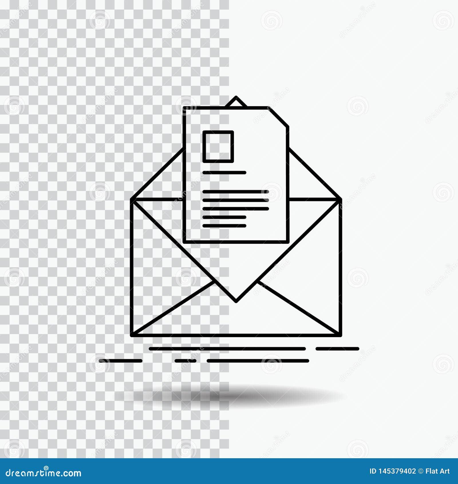 Courrier, contrat, lettre, email, donnant des instructions la ligne icône sur le fond transparent Illustration noire de vecteur d