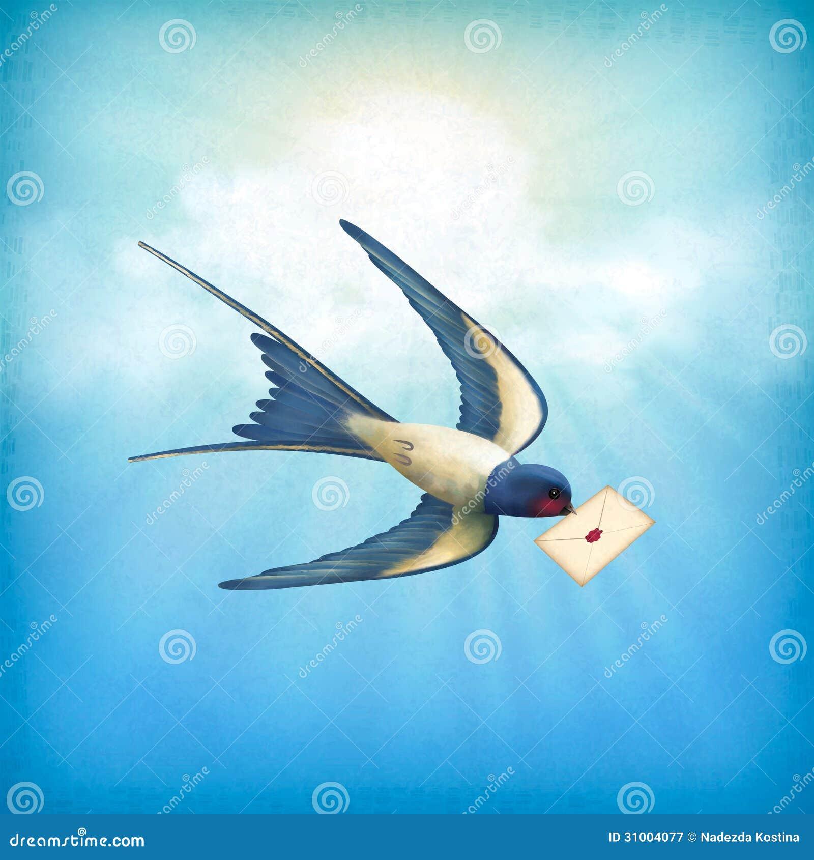 courrier de lettre d oiseau de ciel illustration de vecteur image 31004077