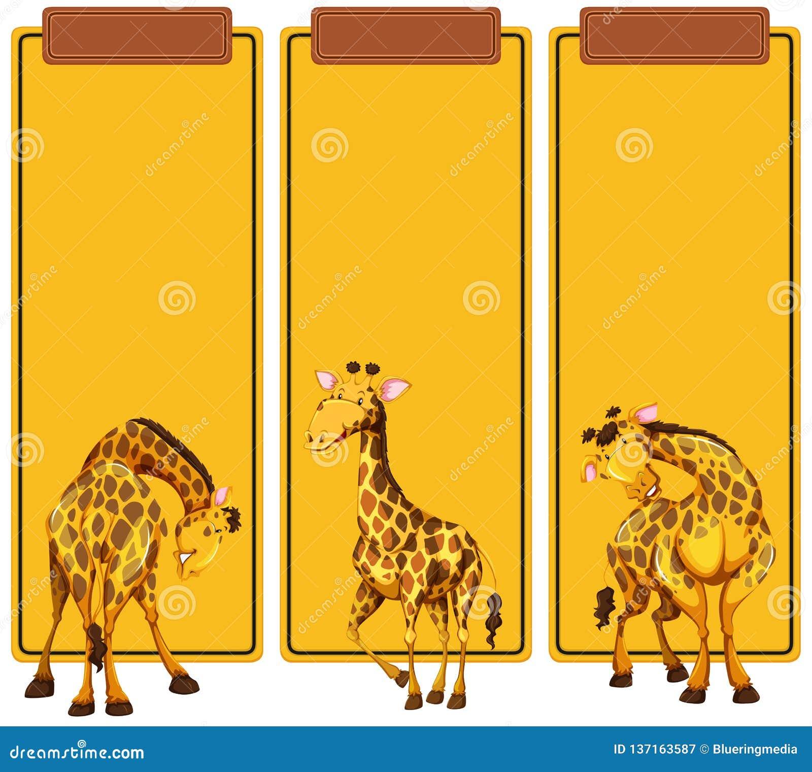Courrier différent de girafe sur la bannière