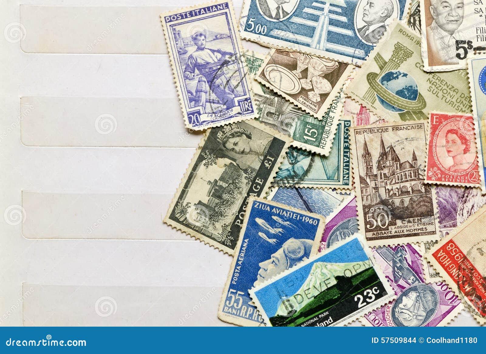 Courrier utilisé de timbres