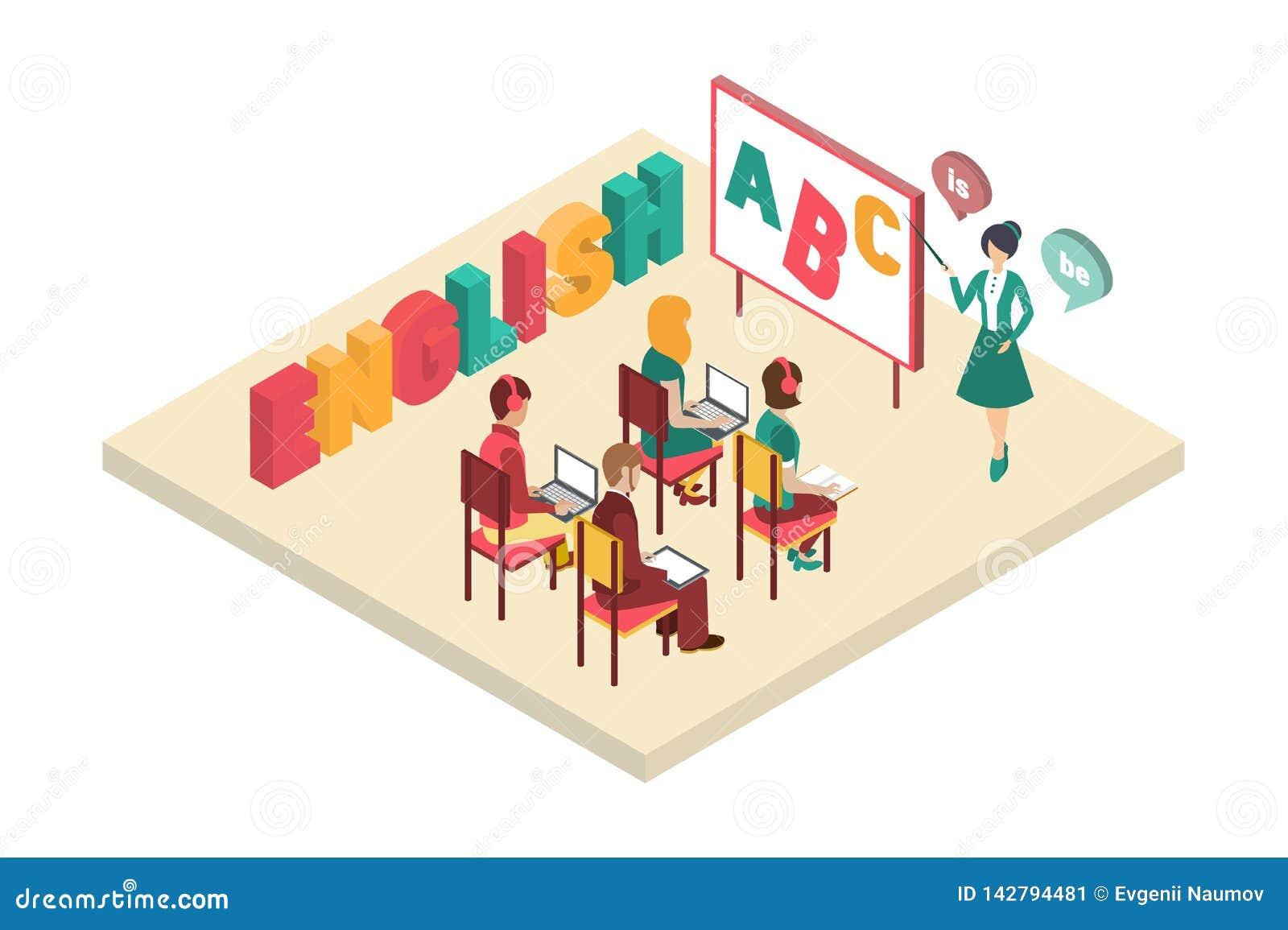 Cours anglais avec le professeur près du tableau noir, illustration intérieure de vecteur de salle de classe