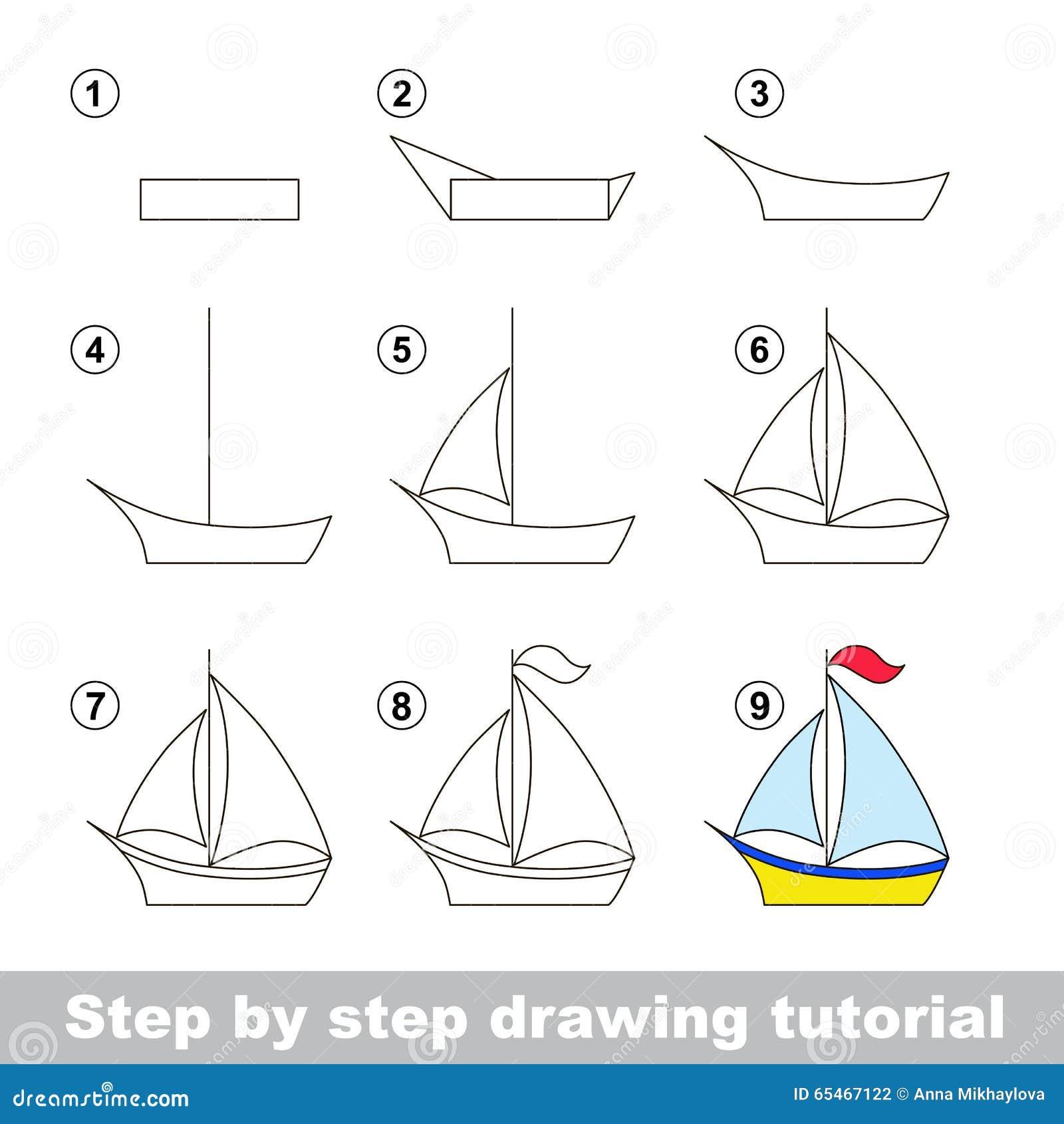 Cours De Dessin Comment Dessiner Un Bateau Illustration de ...