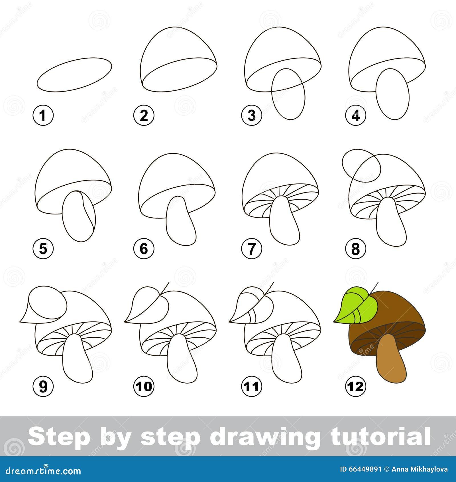 Cours de dessin comment dessiner un champignon - Dessiner un champignon ...