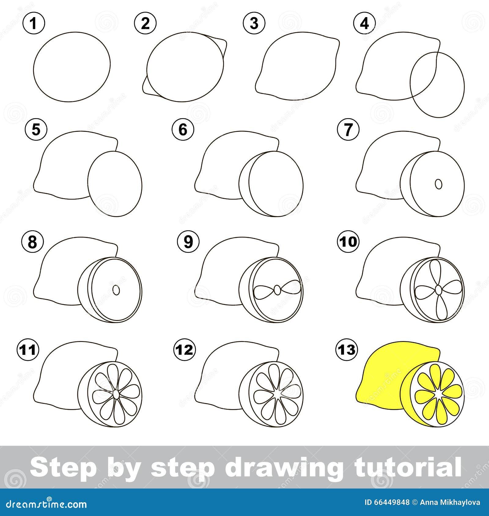Cours de dessin comment dessiner un citron illustration de - Dessiner un fruit ...
