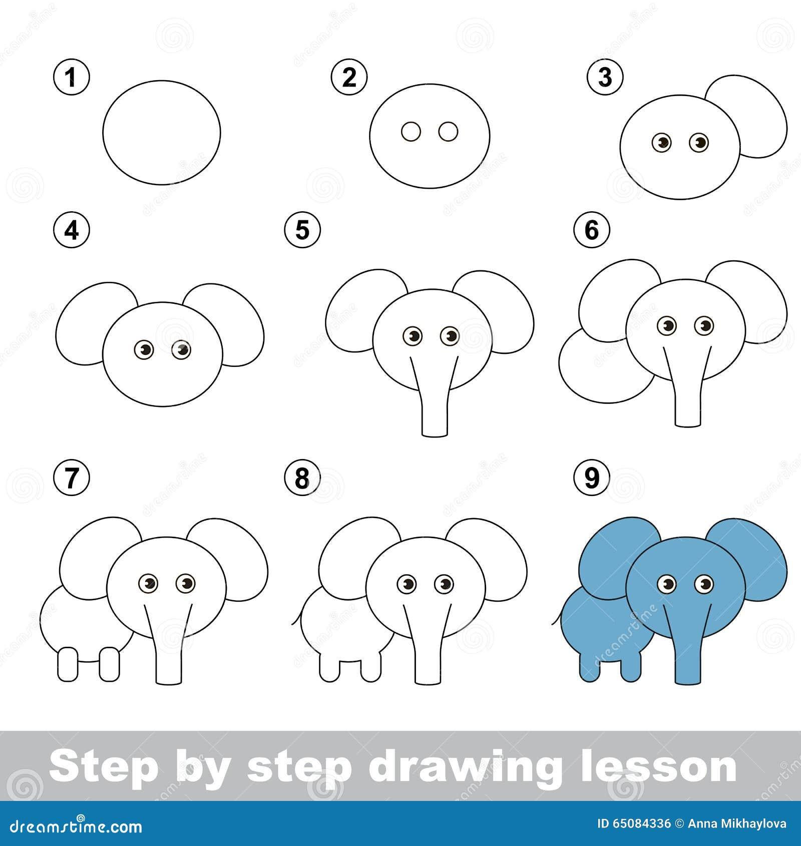 Cours de dessin comment dessiner un l phant illustration de vecteur image 65084336 - Comment dessiner un diable facilement ...