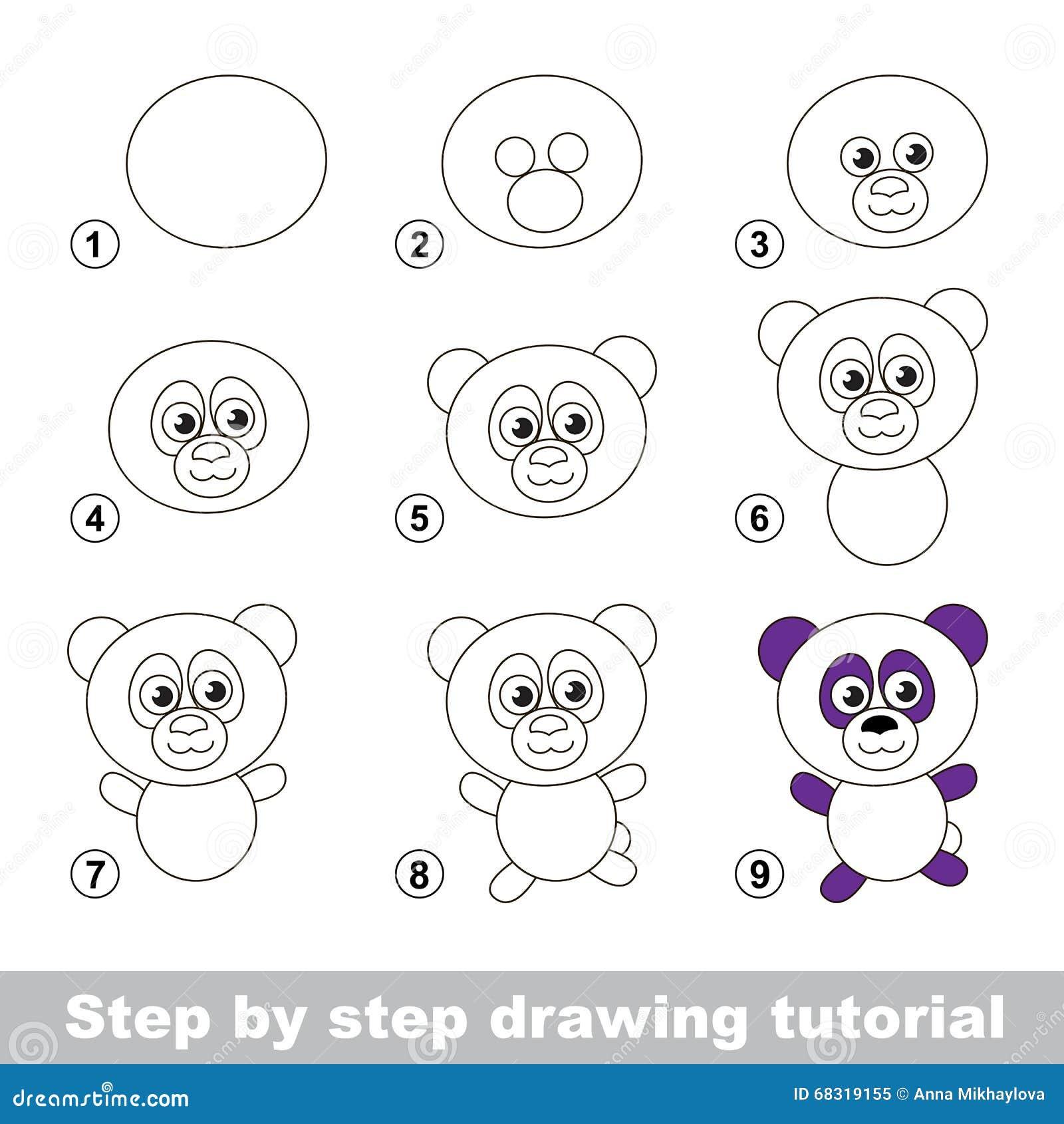 Cours De Dessin Comment Dessiner Un Panda Illustration Vecteur
