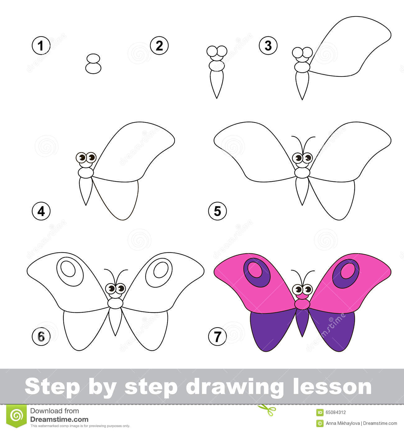 cours de dessin comment dessiner un papillon illustration de vecteur image 65084312. Black Bedroom Furniture Sets. Home Design Ideas