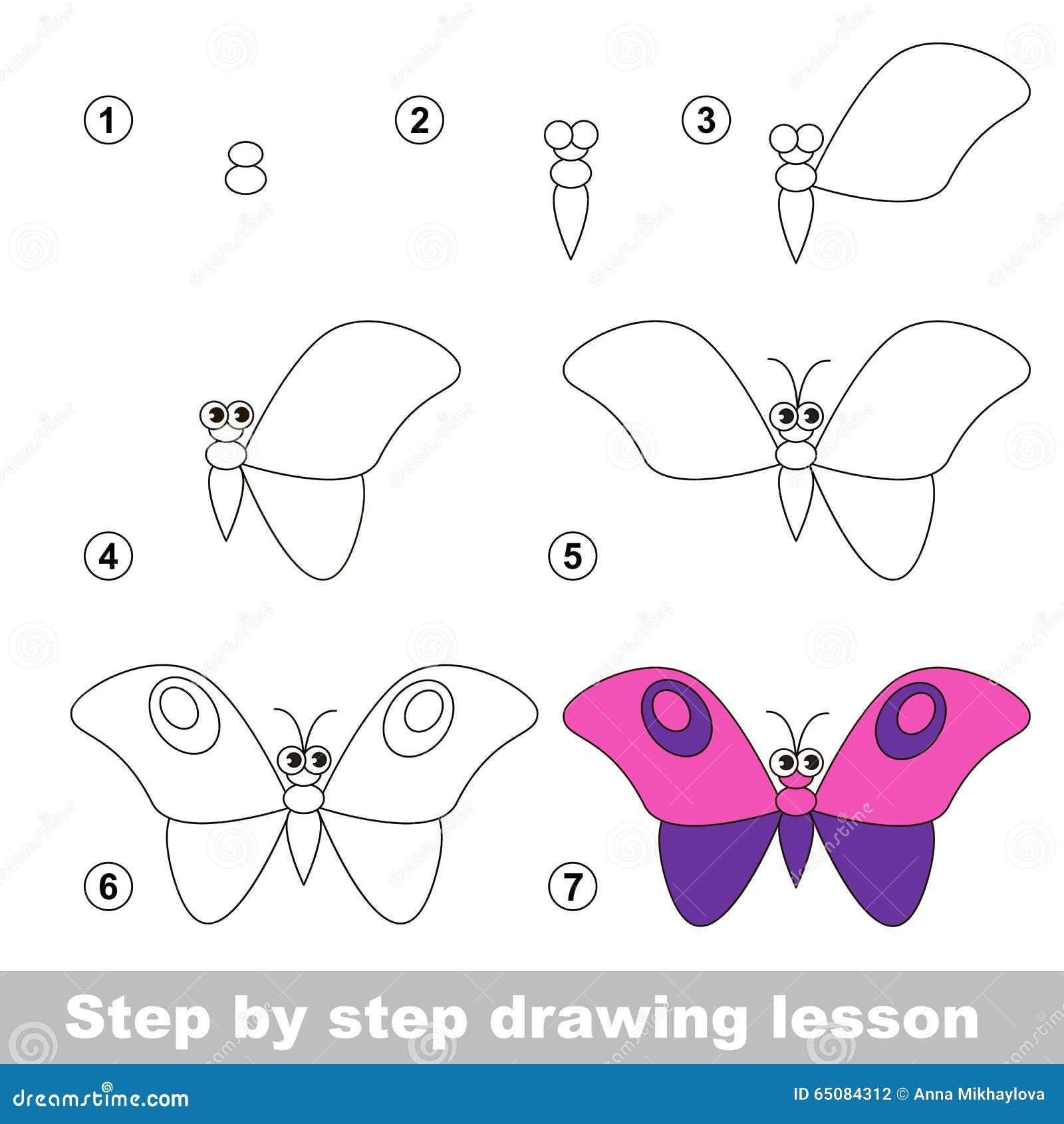 Cours de dessin comment dessiner un papillon illustration de vecteur image 65084312 - Comment dessiner un papillon ...