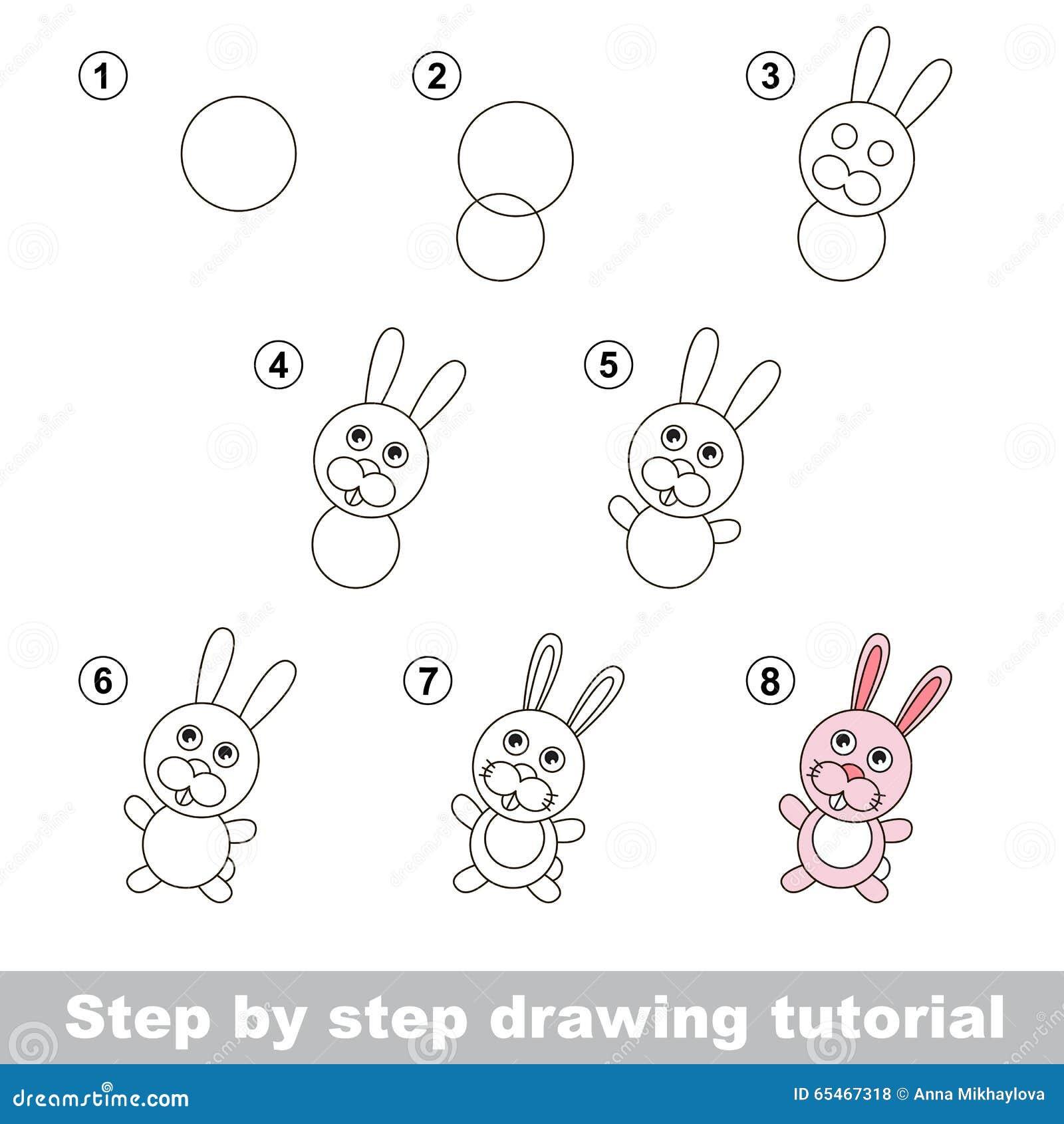 Cours de dessin comment dessiner un petit lapin illustration de vecteur illustration du page - Dessin un lapin ...