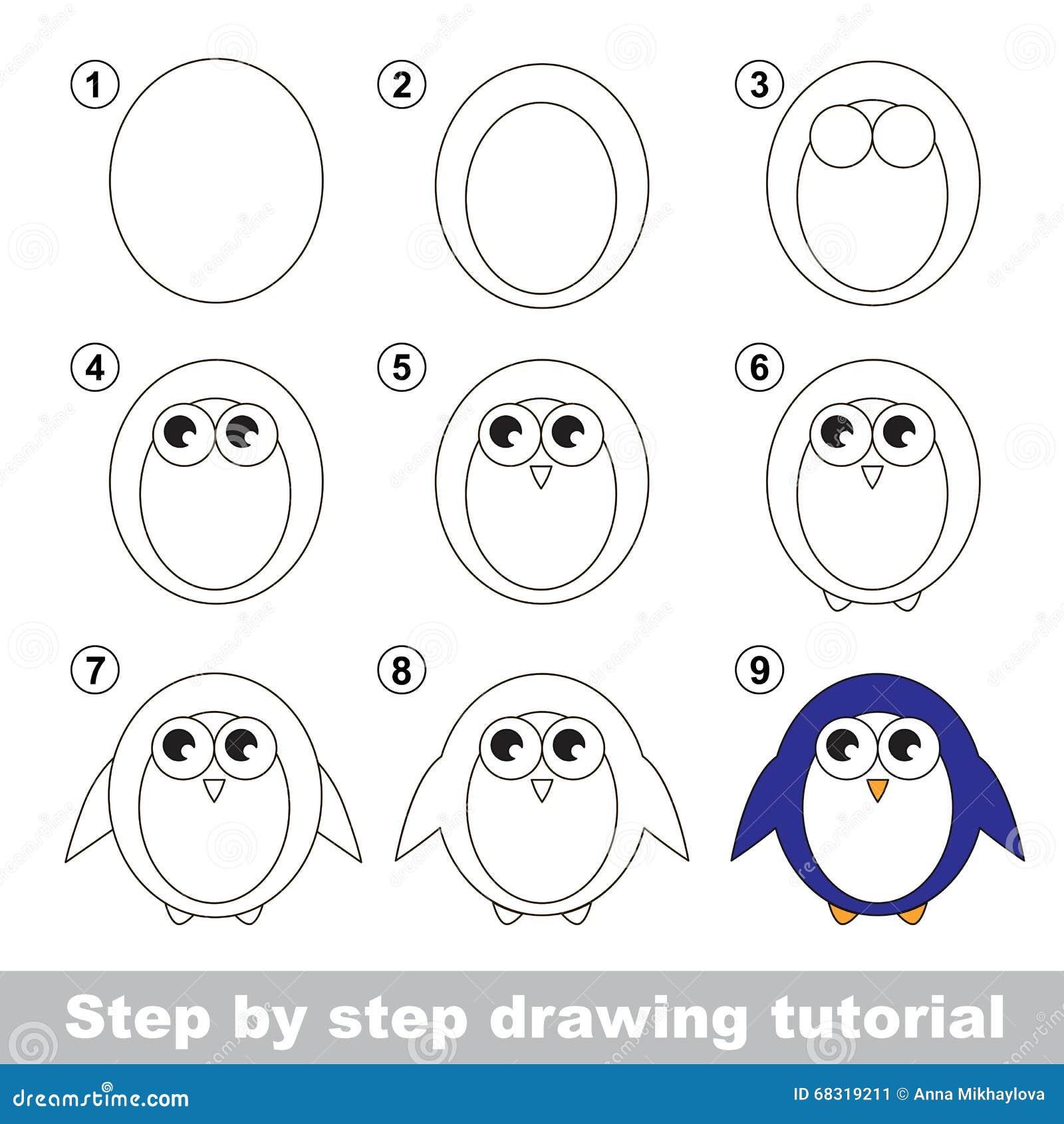Cours de dessin comment dessiner un pingouin illustration de vecteur illustration du personne - Comment dessiner un oiseau facile ...