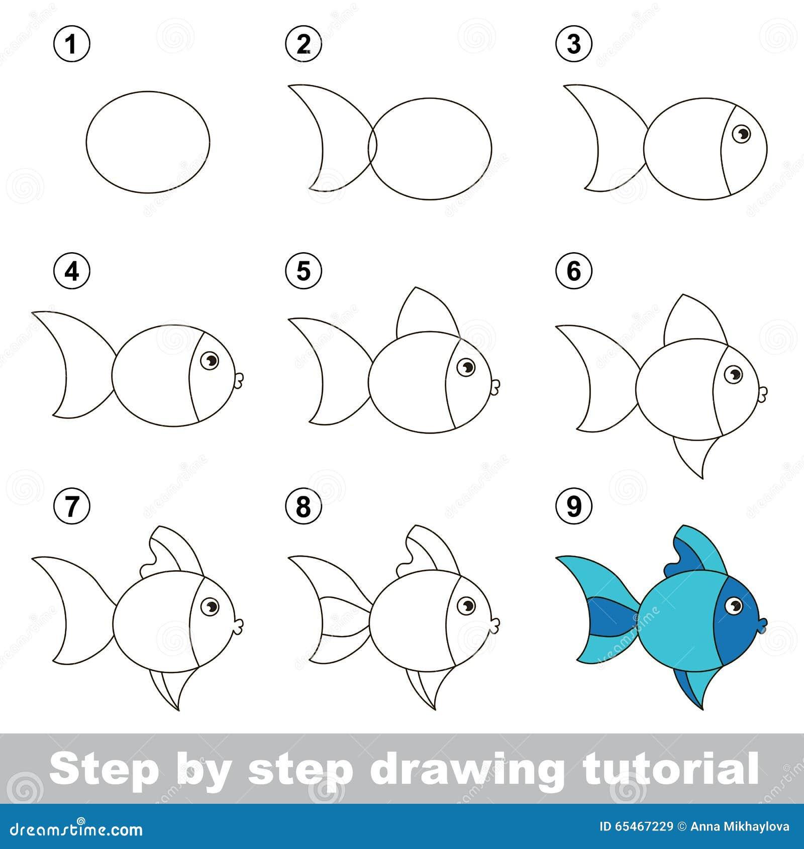 Cours de dessin comment dessiner un poisson mignon - Dessiner un poisson facilement ...