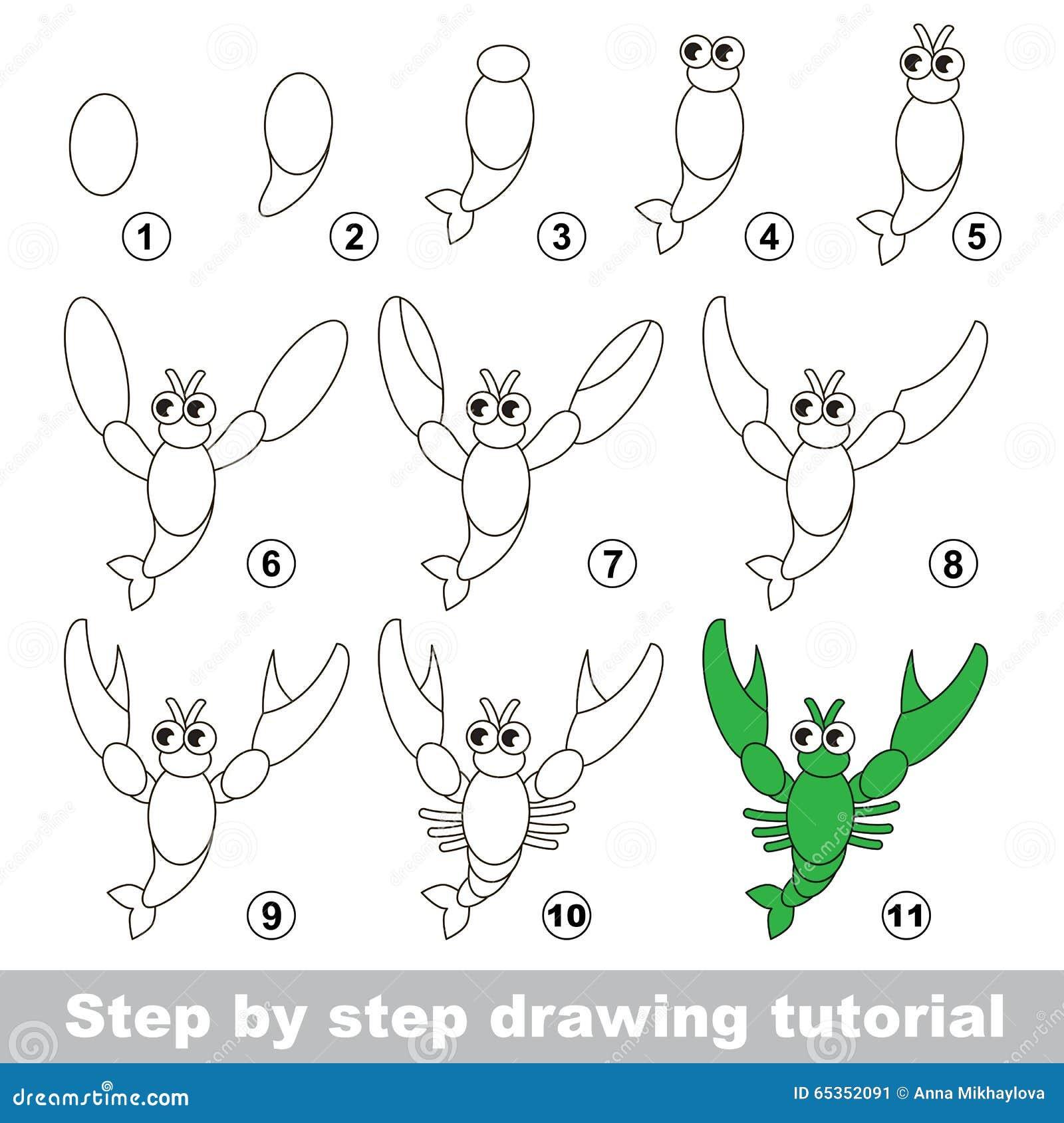 Cours de dessin comment dessiner une crevisse - Dessiner un crabe ...