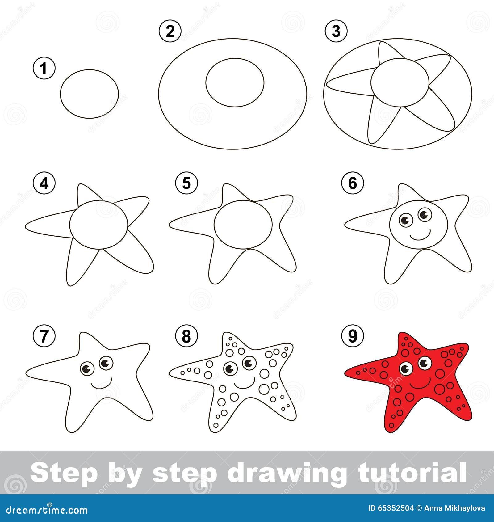 Cours De Dessin Comment Dessiner Une Etoile De Mer Illustration De Vecteur Illustration Du Dessin Cours 65352504