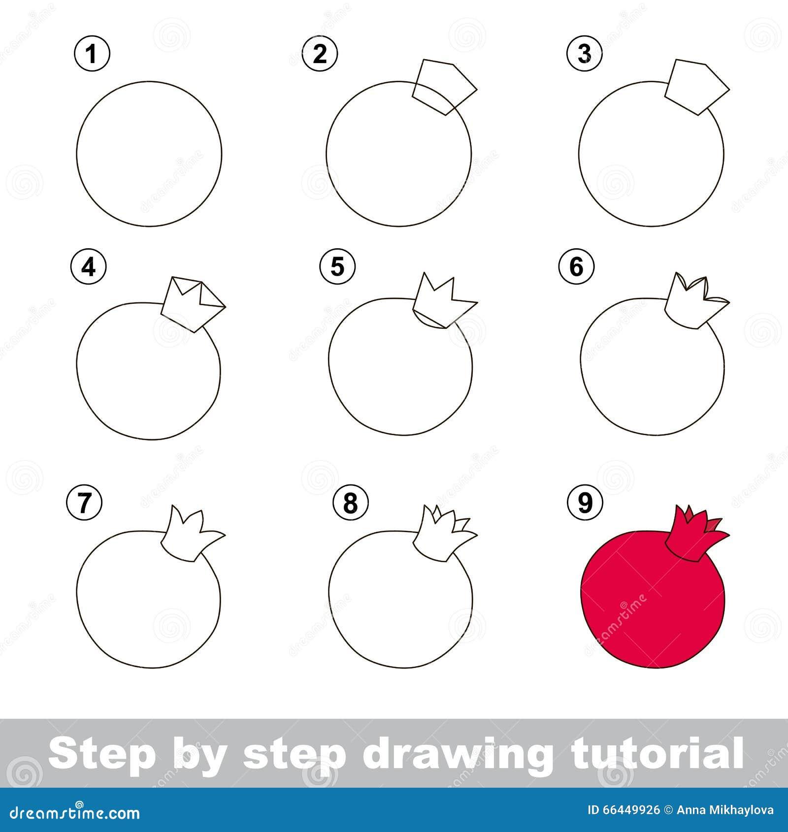 Cours de dessin comment dessiner une grenade illustration de vecteur illustration du - Grenade fruit dessin ...