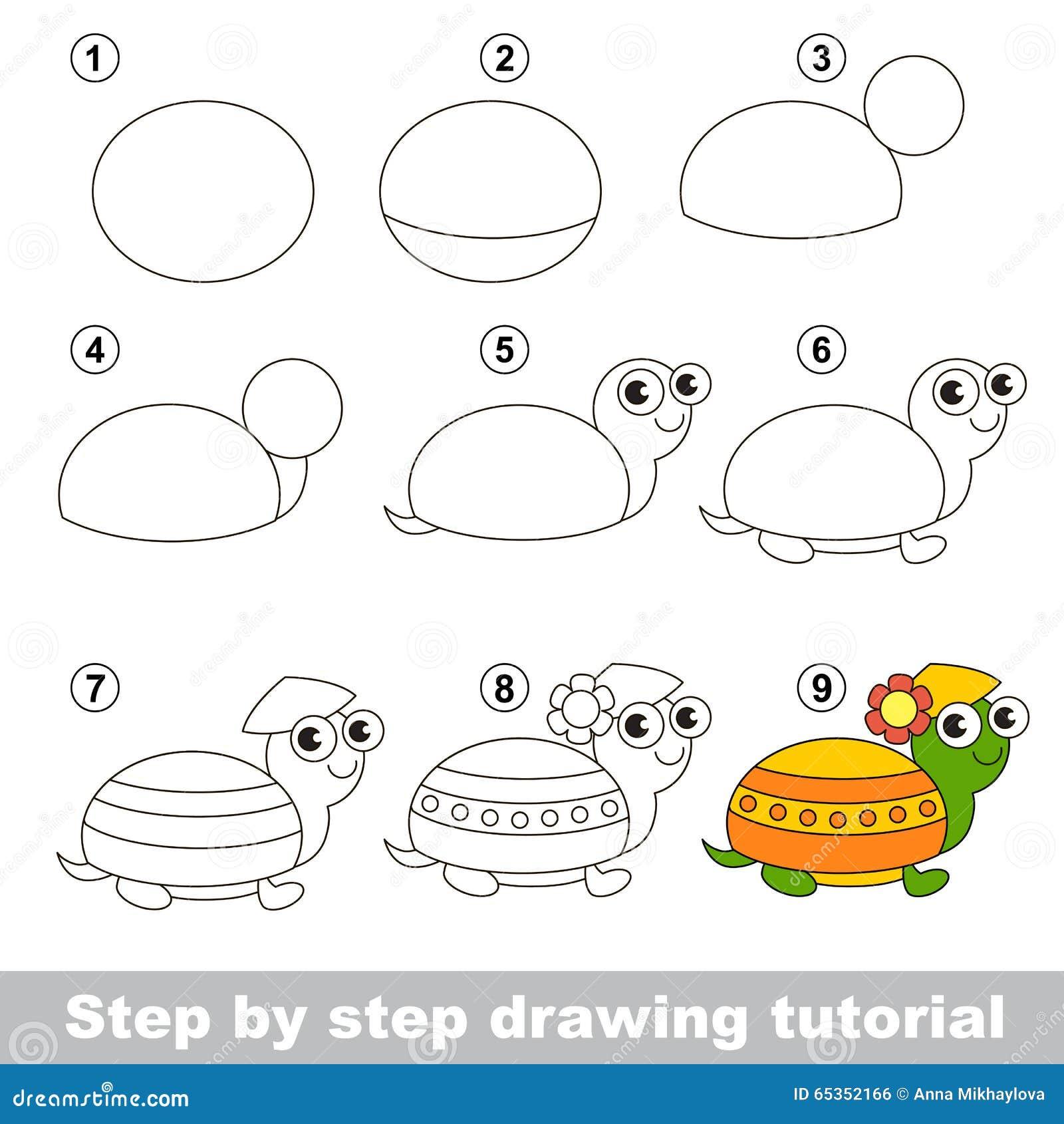 Cours de dessin comment dessiner une tortue illustration - Comment dessiner une tortue ...