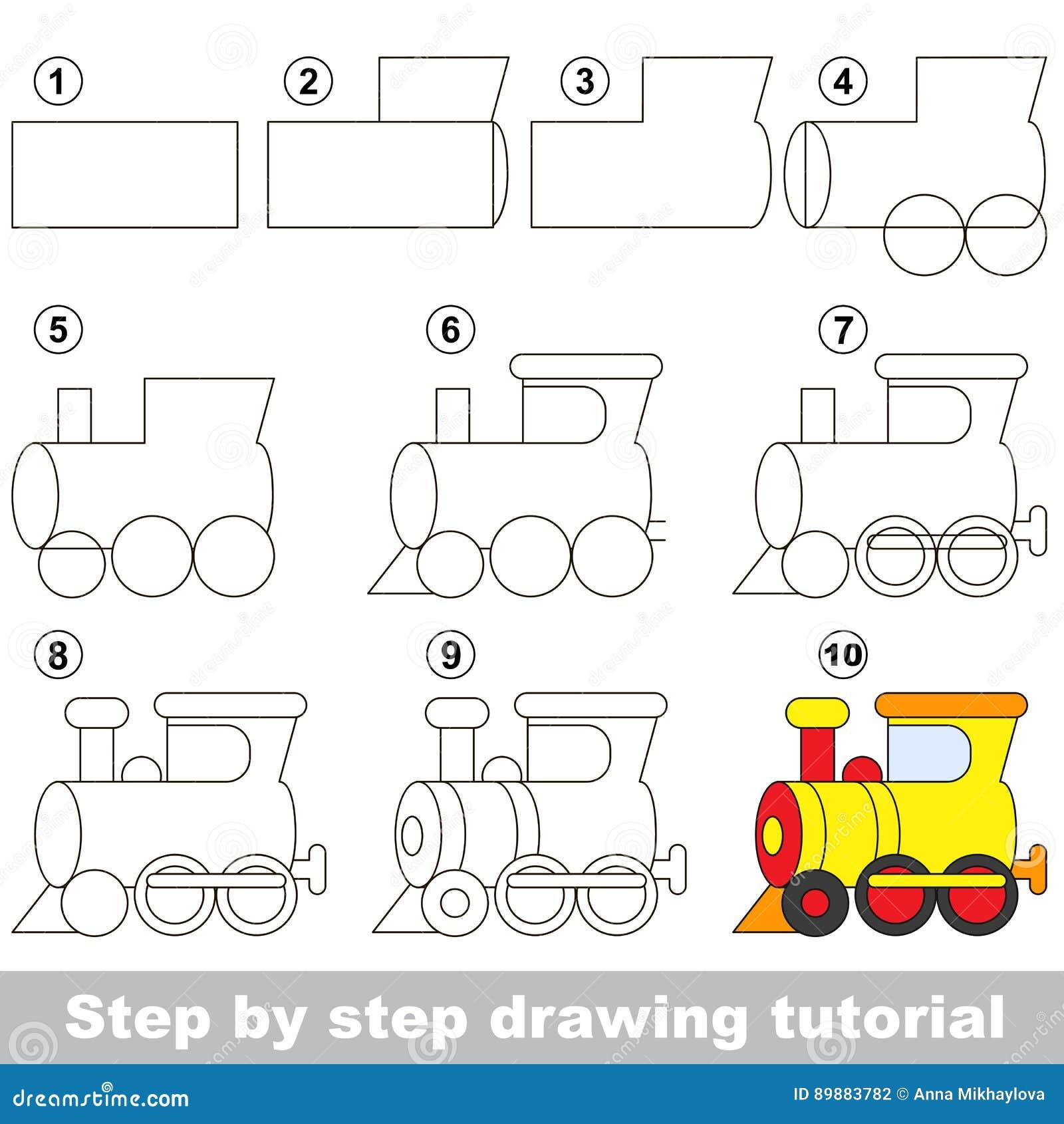 Cours De Dessin Jeu Pour La Locomotive Illustration De Vecteur