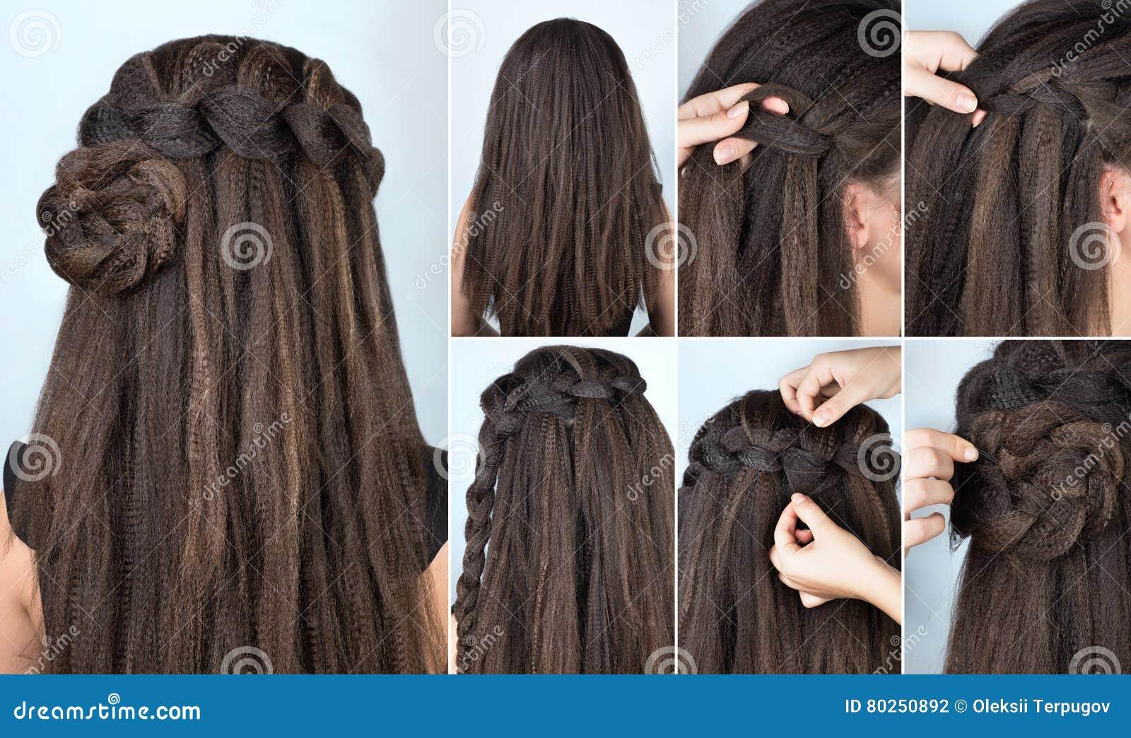 Cours de rose tressé par coiffure