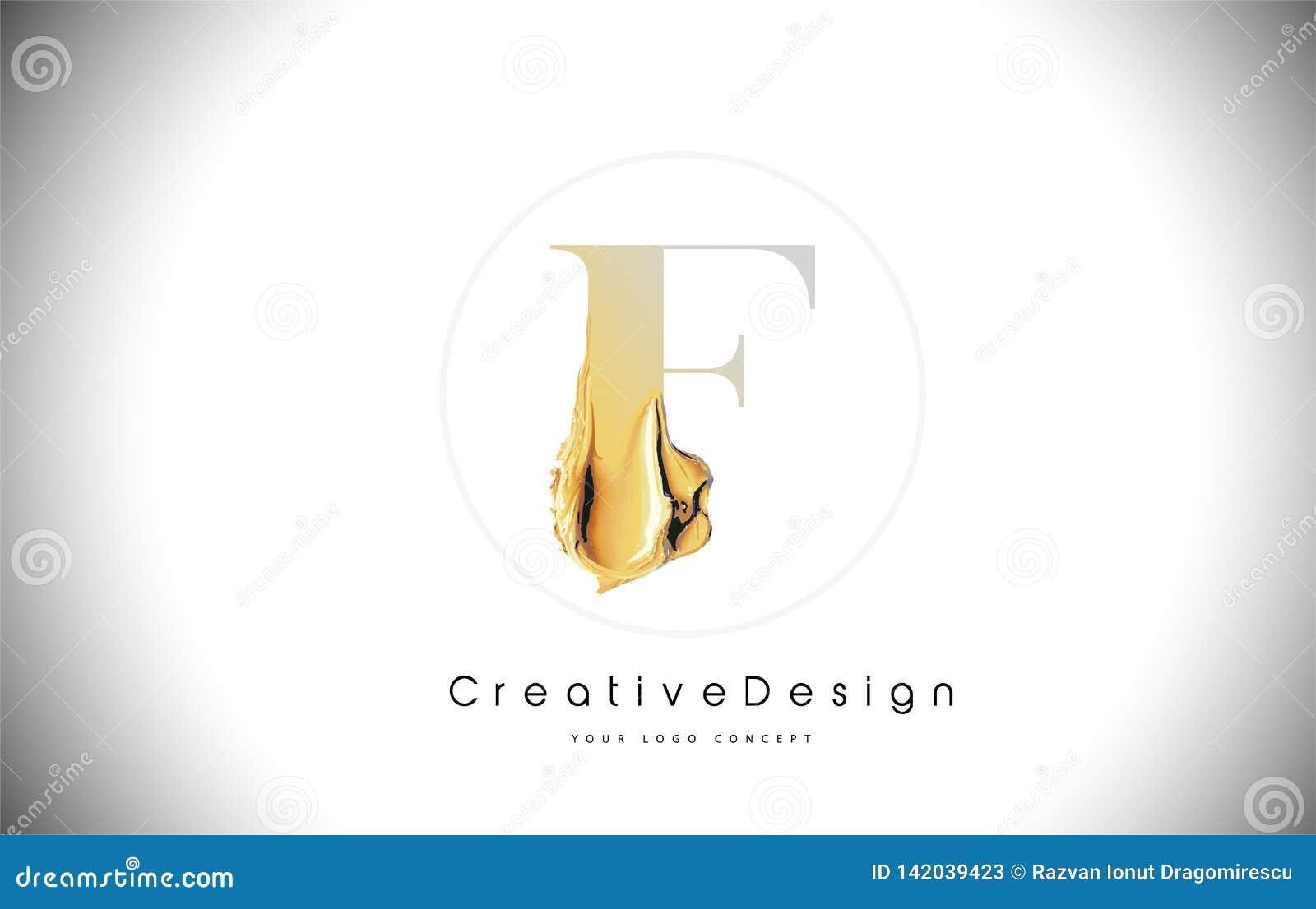Course d or de peinture de brosse de conception de lettre de F Lettre jaune Logo Icon de l or f avec le pinceau artistique