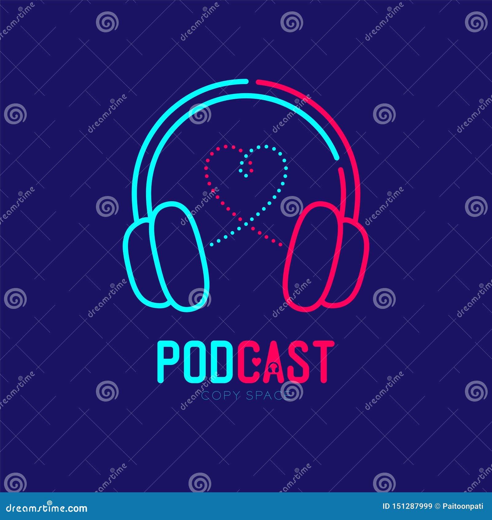 Course d ensemble d icône de logo d écouteur avec la ligne conception, concept en ligne Podcast de tiret de symbole d amour de co