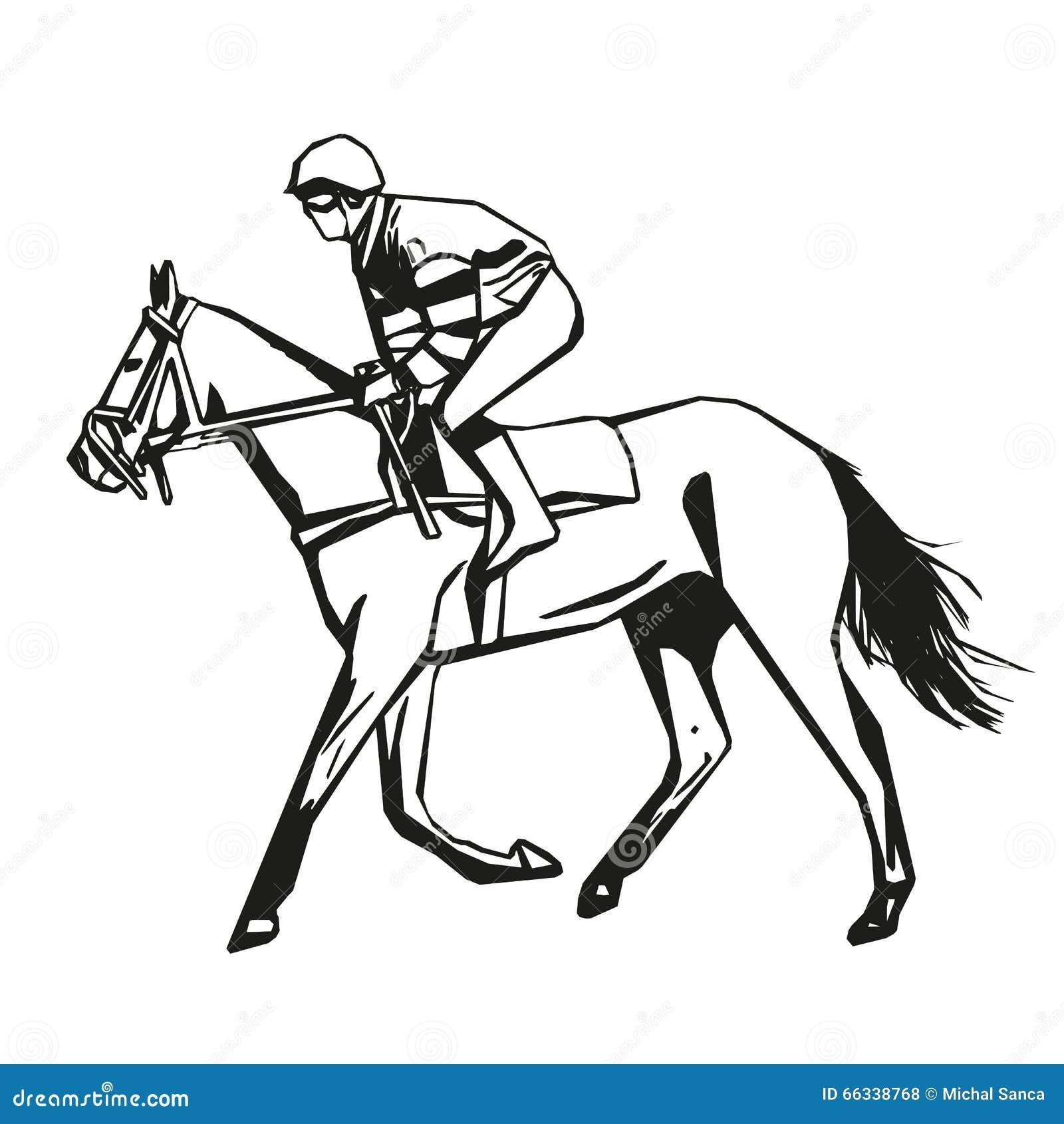 Course de chevaux dessin de vecteur illustration de - Dessin cheval de course ...