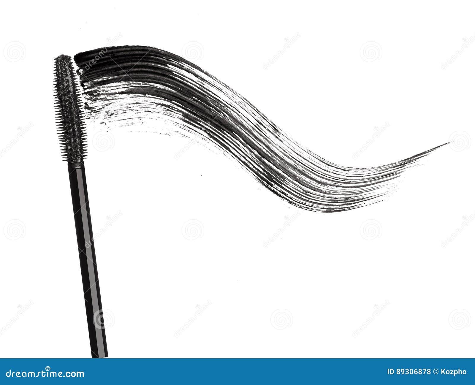 Course de mascara noir avec le plan rapproché de brosse d applicateur