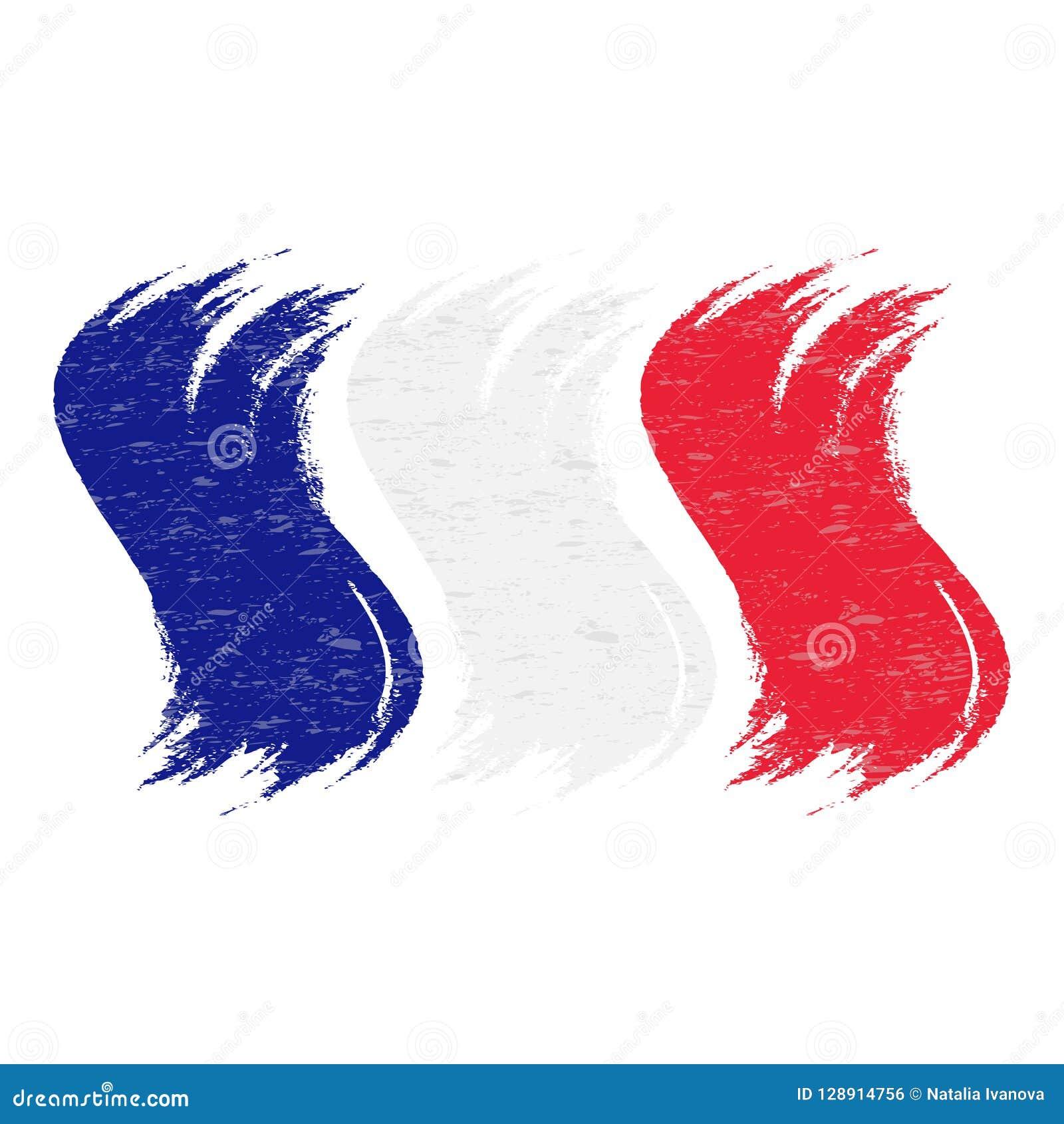 Course grunge de brosse avec le drapeau national des Frances d isolement sur un fond blanc Illustration de vecteur