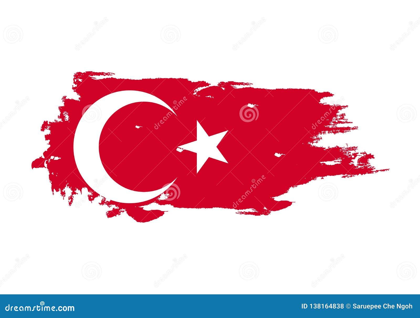Course grunge de brosse avec le drapeau national de dinde Drapeau de peinture d aquarelle Symbole, affiche, bannière Vecteur d is