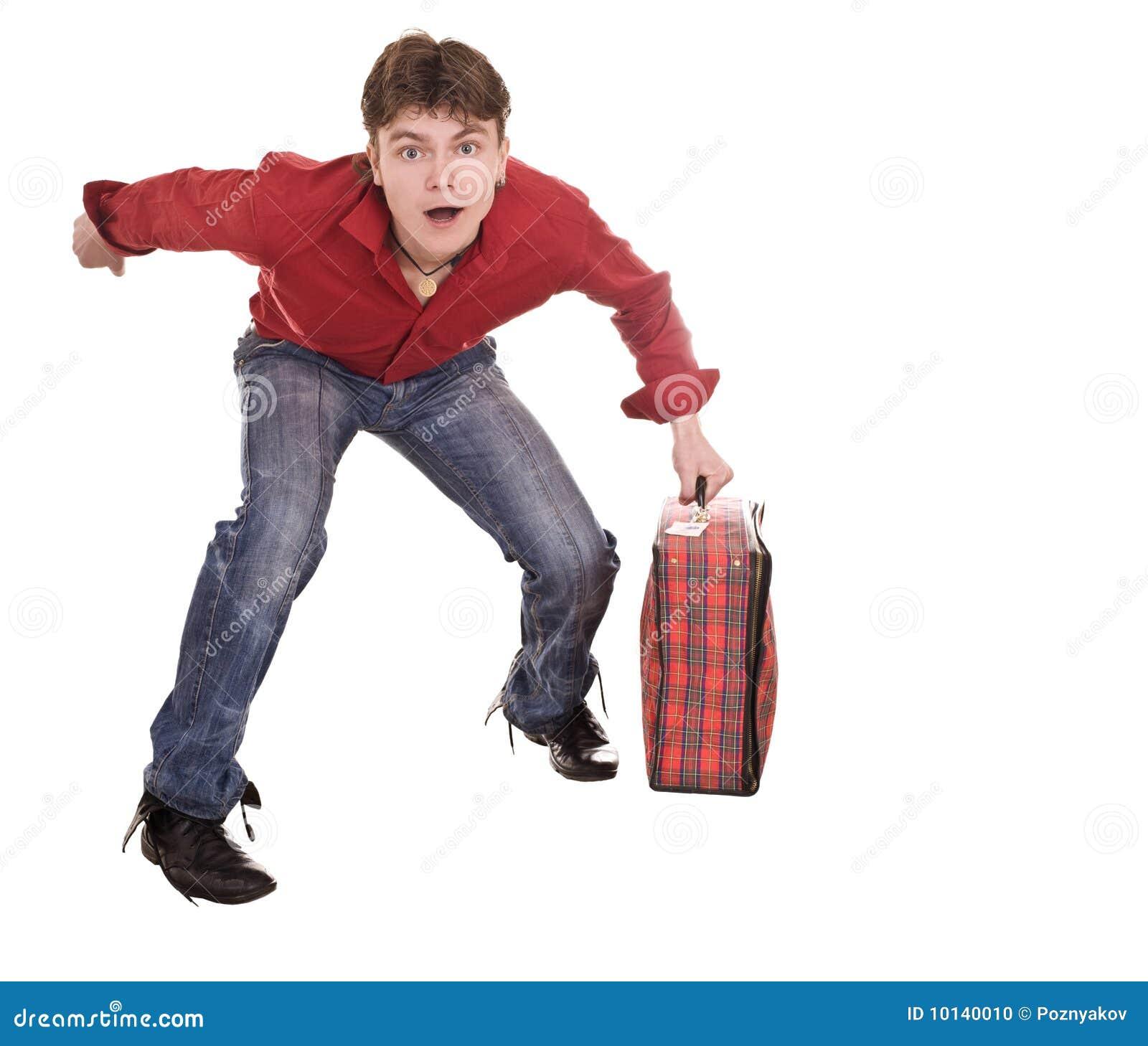 Course heureuse de valise d homme