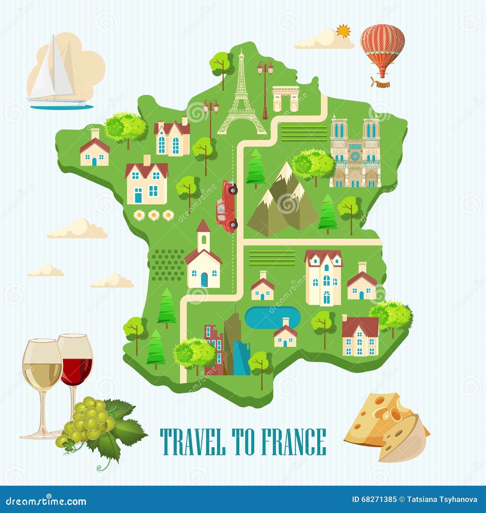 Course Vers La France Visite Touristique De Paris Et Des Frances Carte Touristes Romantique Dans