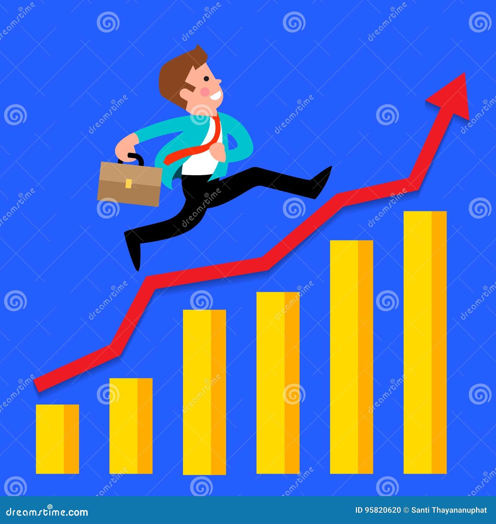 Courses d homme d affaires sur le graphique