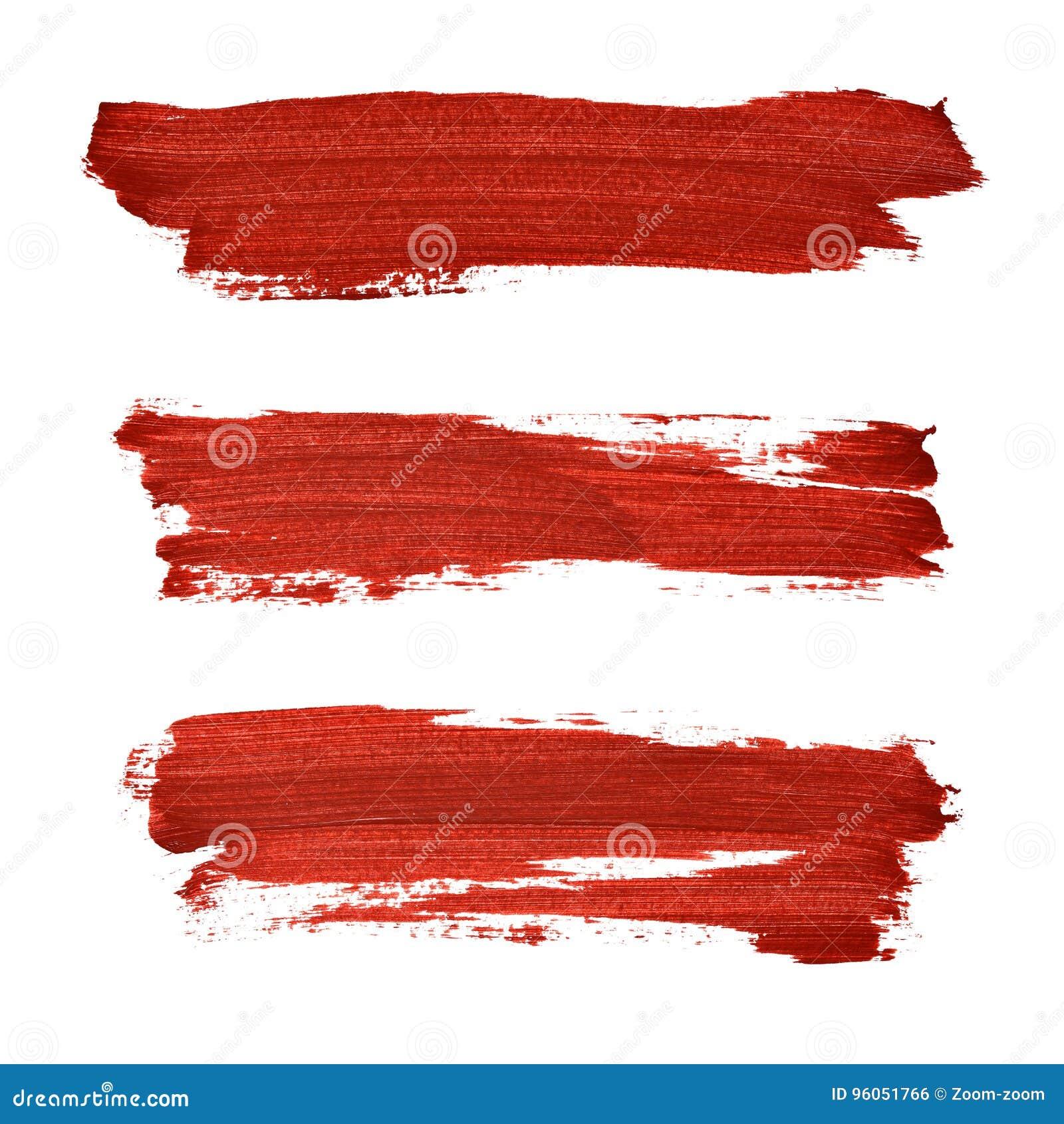 Courses de brosse de peinture acrylique rouge