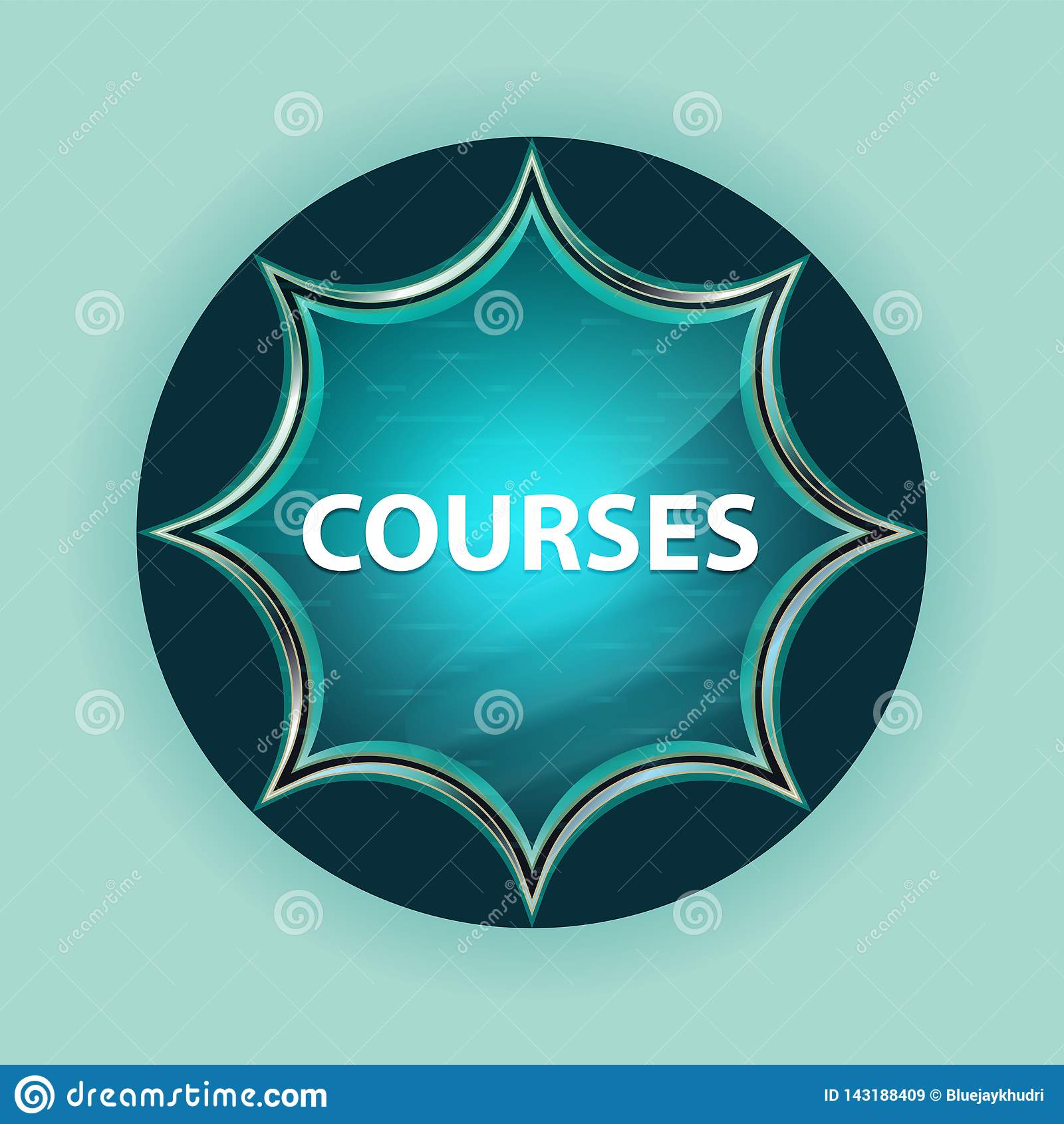 Courses magical glassy sunburst blue button sky blue background