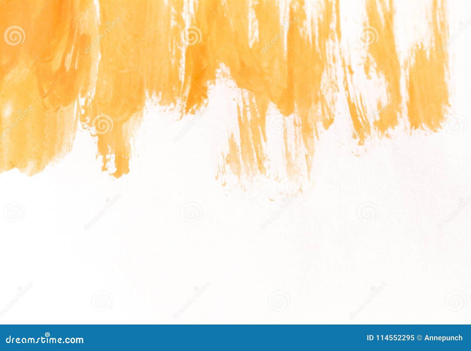 Courses oranges de brosse d aquarelle sur le livre blanc Fond horizontal avec des taches de peinture pour aquarelle