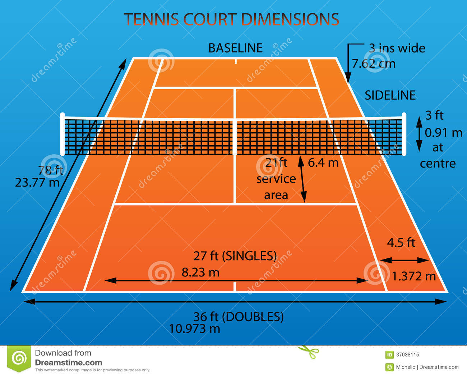 Court de tennis avec des dimensions illustration de for Terrain de tennis dimensions