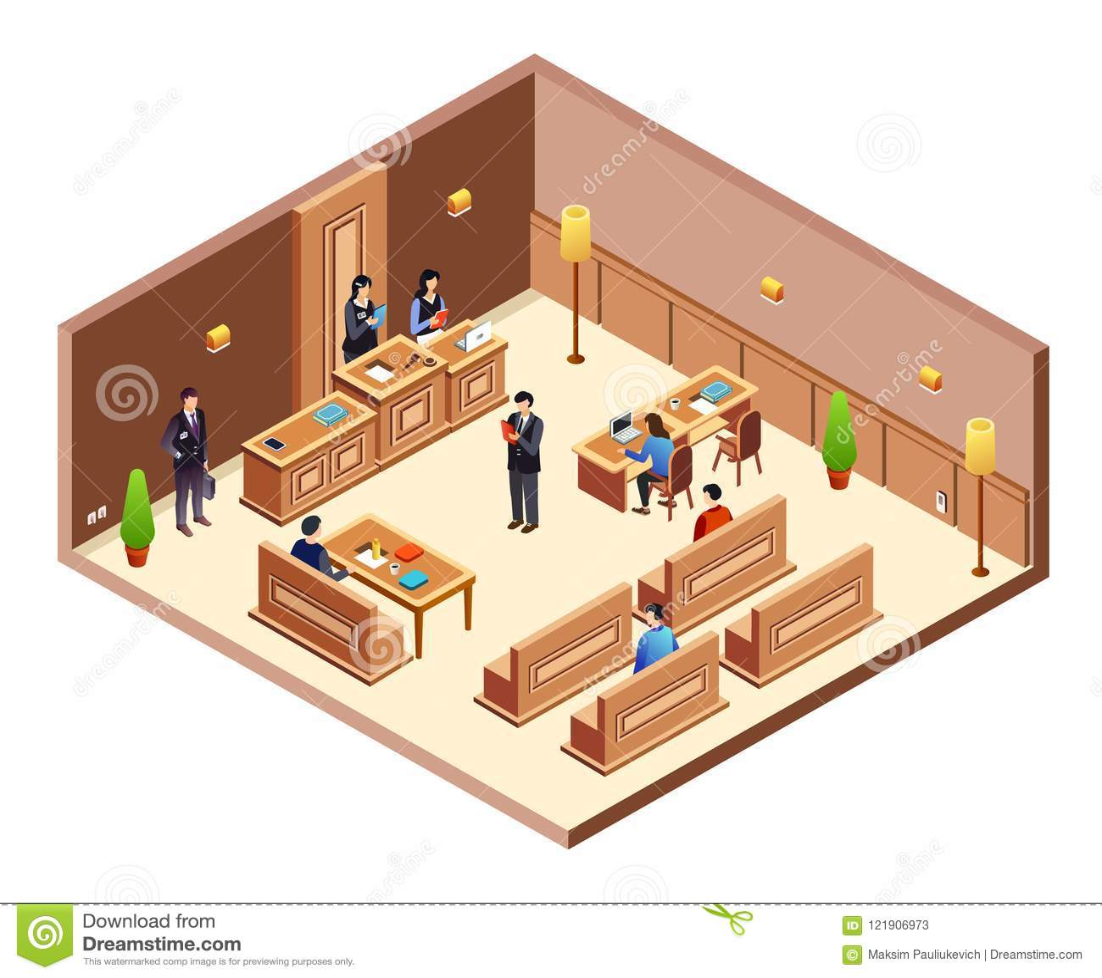 court hearing cross section vector illustration stock. Black Bedroom Furniture Sets. Home Design Ideas