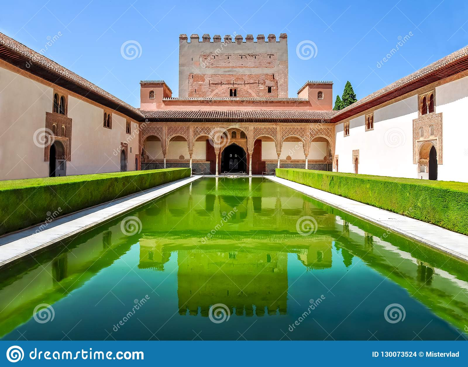Court of the Myrtles in Nasrid Palace in Alhambra, Granada, Spain