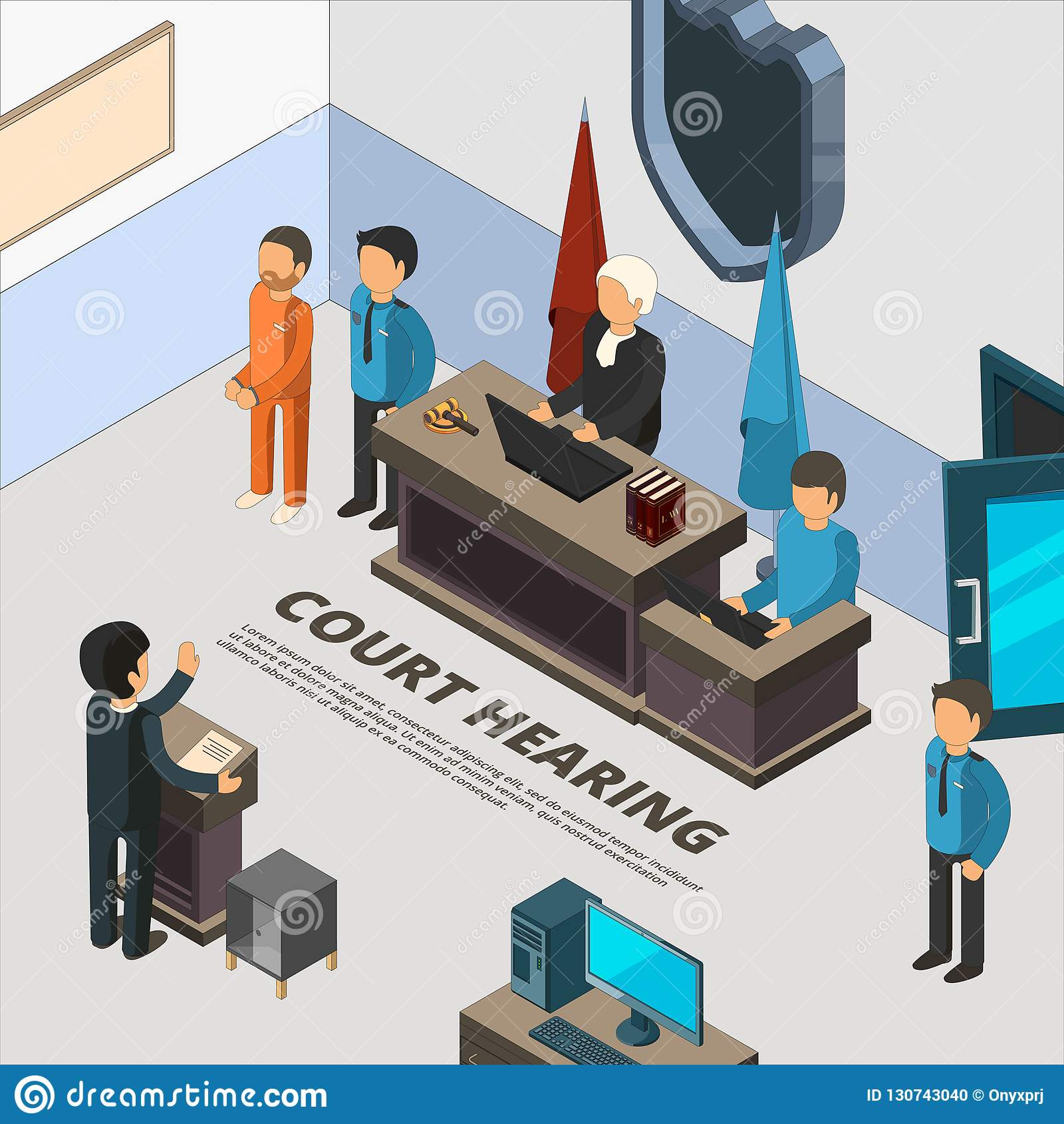 Court session banners. Law process in judicial defendant police and crime interrogation isometric symbols vector