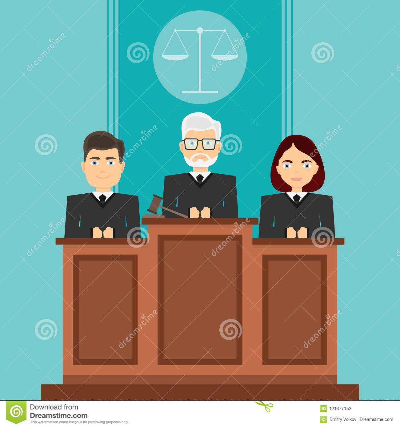 Court session. The judges sit in court. The judges sit in their seats.