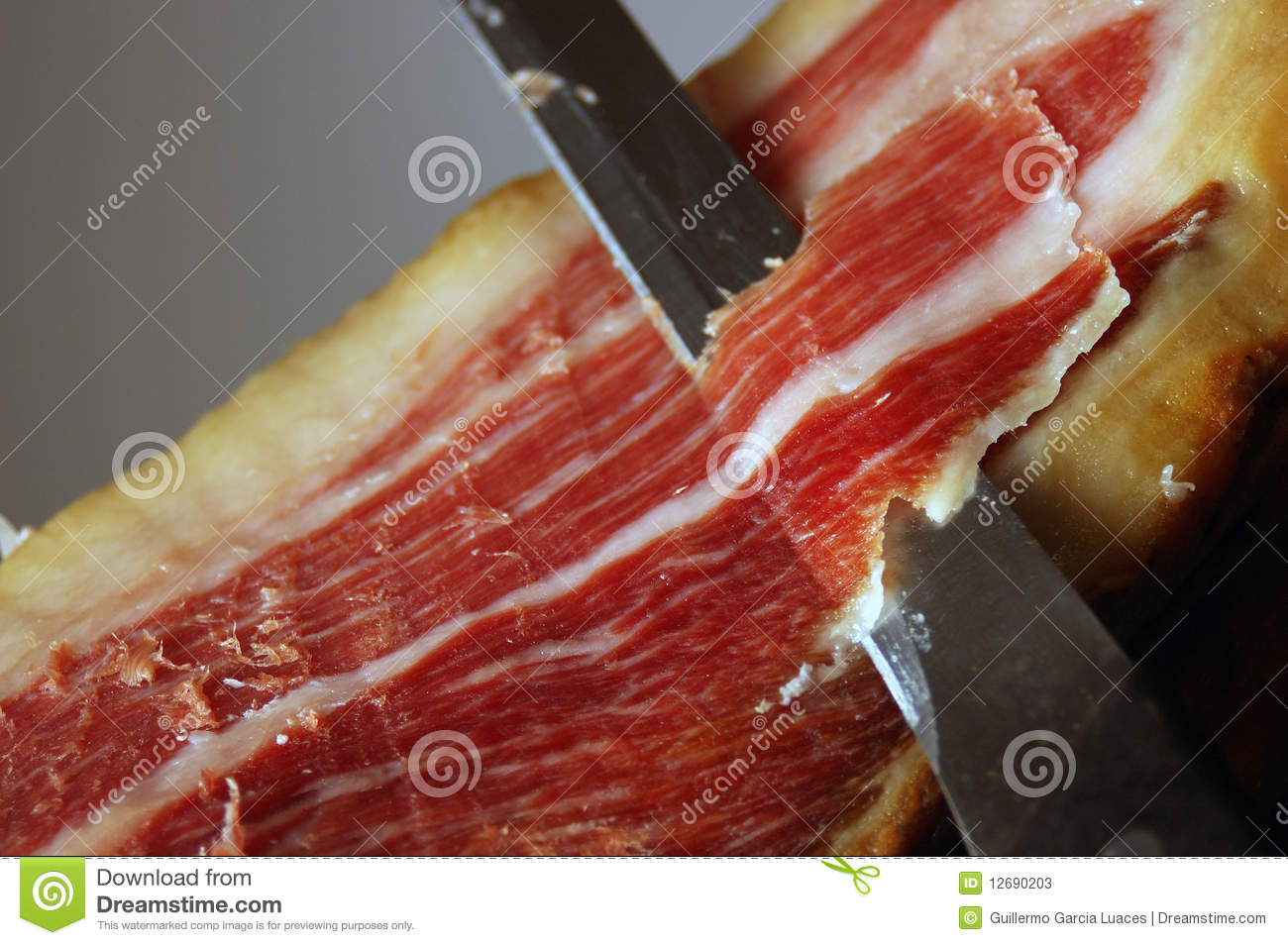 Court of a typical Jamon Iberico ham from Spain