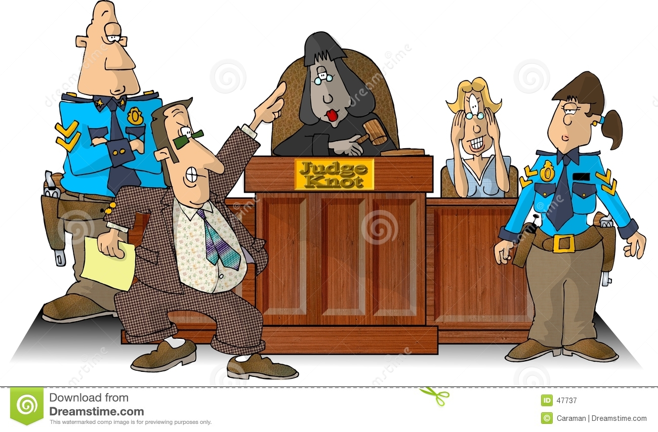 ... depicts a courtroom with a judge, attorney, witness and two bailiffs
