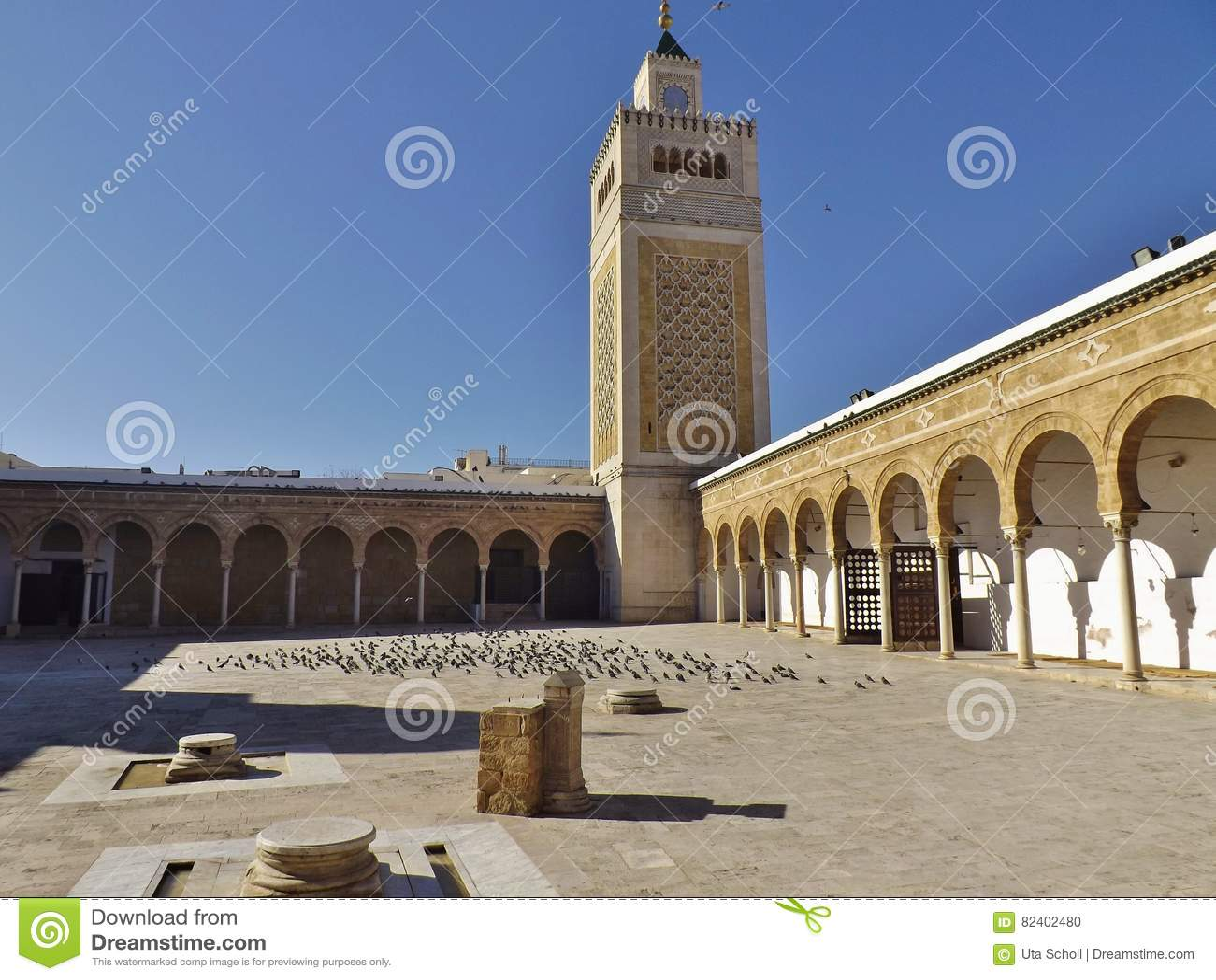 The Courtyard Of The Al Zaytuna Mosque In Tunis Tunisia Stock Photo Image Of Tunisia Tunisa 82402480