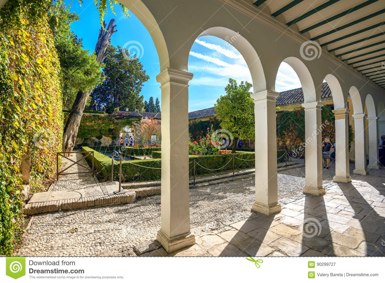 Courtyard of Alhambra palace. Granada, Andalusia, Spain