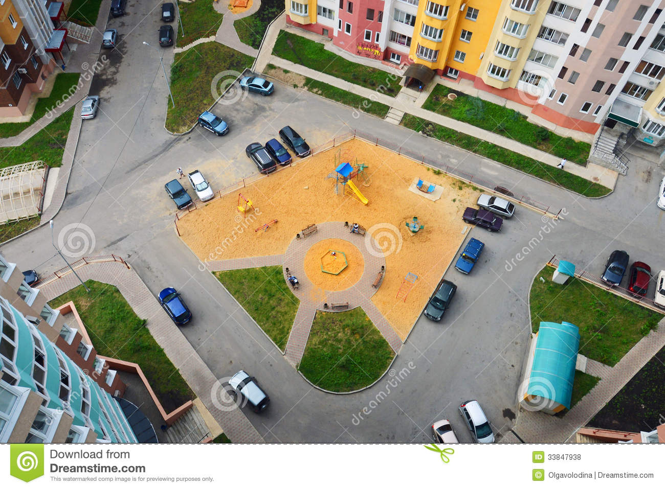 Apartment Building Courtyard courtyard of apartment building in the city, the view from above