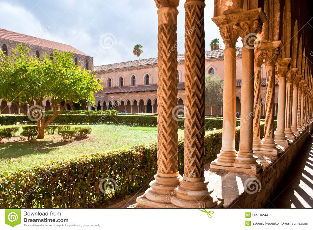 The courtyard with columns stock photo image of sicily for Baroque architecture elements